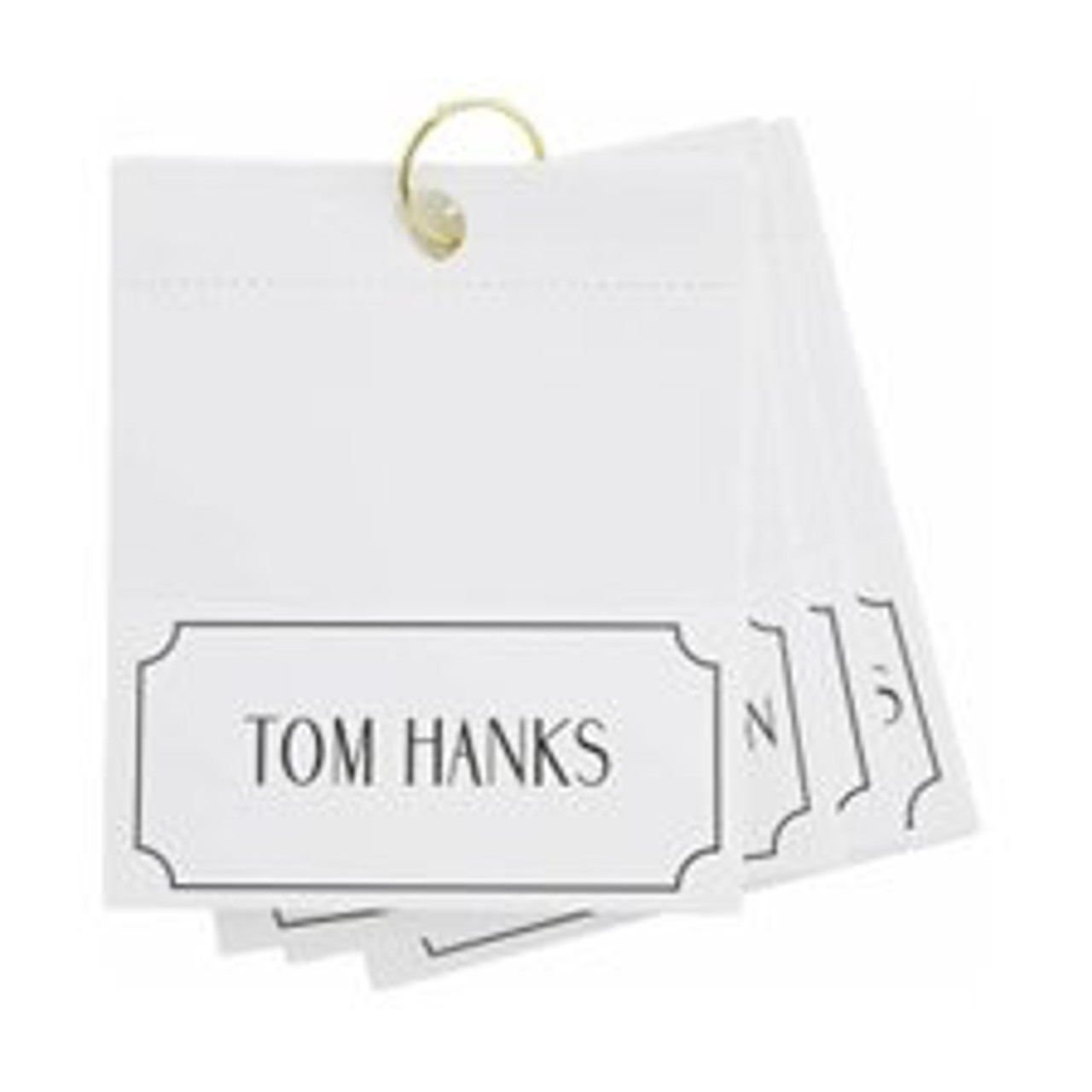 """Bring some laughs and Hollywood glamour to your next dinner party with a set of male actor place cards. Folded cards measure 2 3/8"""" H x 4 3/4"""" W.  This set of 24 cards features some of the most recognized names from the big screen including Tom Hanks, Mark Wahlberg, Arnold Schwarzenegger, Matt Damon, Ben Affleck, Al Pacino, Robert De Niro, The Rock (Dwayne Johnson), Adam Sandler, Morgan Freeman, Denzel Washington, Jeff Bridges, Clint Eastwood, Jack Nicholson, Sean Penn, Nicolas Cage, Sylvester Stallone, Ben Stiller, Anthony Hopkins, Owen Wilson, Leonardo DiCaprio, Marlon Brando, Jim Carey, Eddie Murphy"""