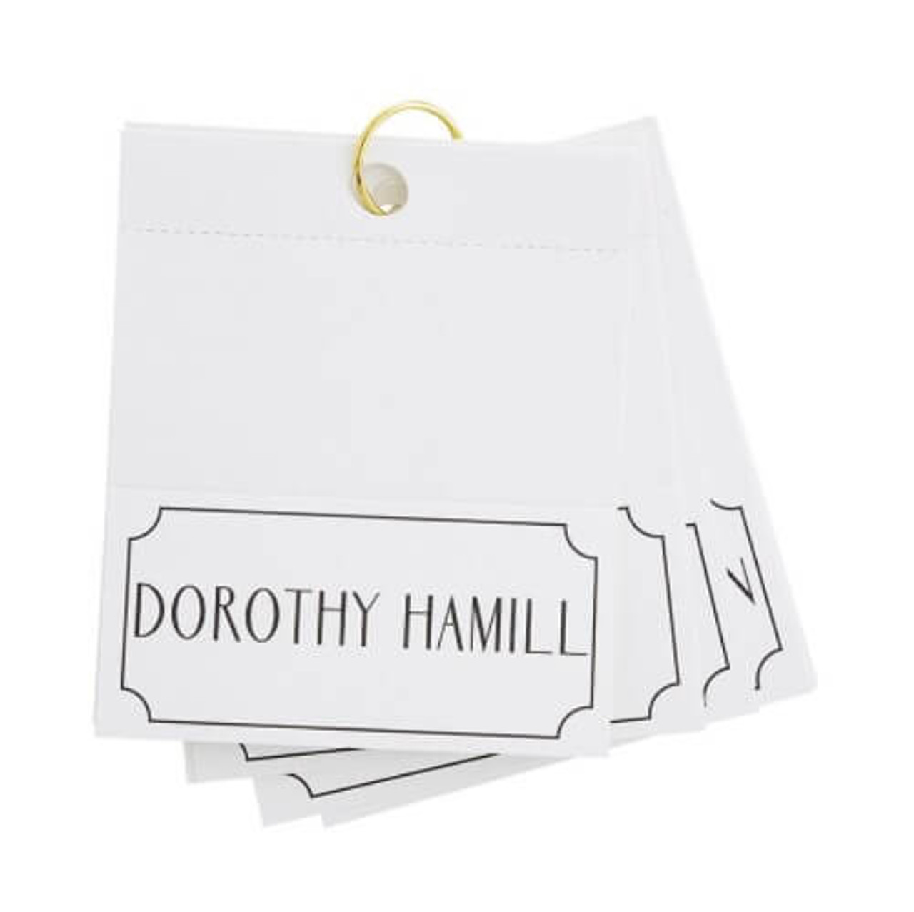 """Bring some laughs and a championship feeling to your next dinner party with a set of female athlete place cards. Folded cards measure 2 3/8"""" H x 4 3/4"""" W.  This set of 24 cards features some of the most recognized names from the concert stage including Lindsey Vonn, Diana Taurasi, Danica Patrick, Peggy Fleming, Jackie Joyner-Kersee, Martina Navratilova, Nancy Kerrigan, Tonya Harding, Michelle Wie, Maria Sharapova, Mary Lou Retton, Nancy Lopez, Nadia Comăneci, Serena Williams, Steffi Graf, Chris Evert, Mia Hamm, Dorothy Hamill, Billie Jean King, Hope Solo, Venus Williams, Michelle Kwan, Abby Wambach, Ronda Rousey"""