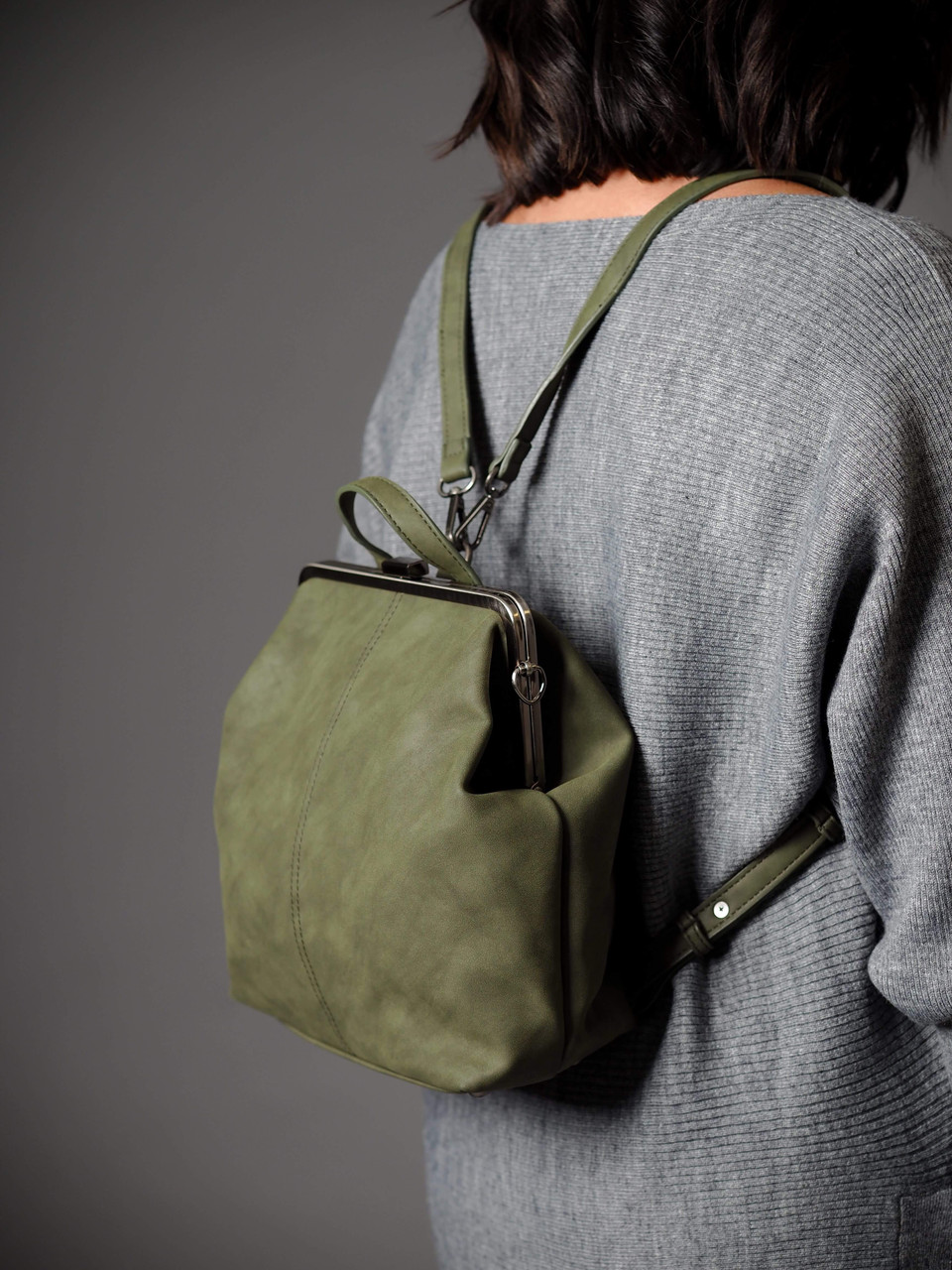 vegan leather olive green convertible backpack