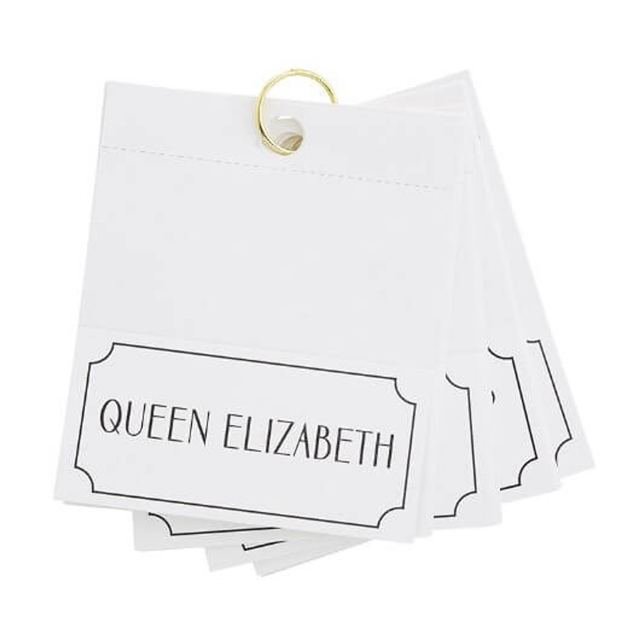 """Bring some laughs and regal glamour to your next dinner party with a set of royalty place cards. Folded cards measure 2 3/8"""" H x 4 3/4"""" W.  This set of 24 cards features some of the most recognized royal names including: Queen Elizabeth, Diana, Princes of Wales, Charles, Prince of Wales, Sarah, Duchess of York, Camilla, Duchess of Cornwall, Vice Admiral Sir Timothy Laurence, Prince William, Duke of Cambridge, Autumn Phillips, Mike Tindall, Lady Louise Windsor, Princess Beatrice of York, Princess Eugenie of York, Prince Philip, Duke of Edinburgh, Prince Edward, Earl of Wesex, Meghan, Duchess of Sussex"""