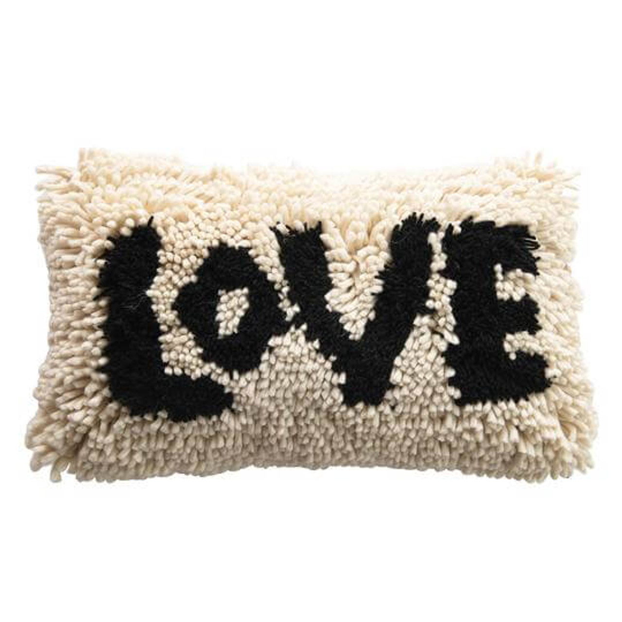 """Bring a lotta love to your decor with this 14"""" x 28"""" shaggy wool """"LOVE"""" pillow. Insert included."""
