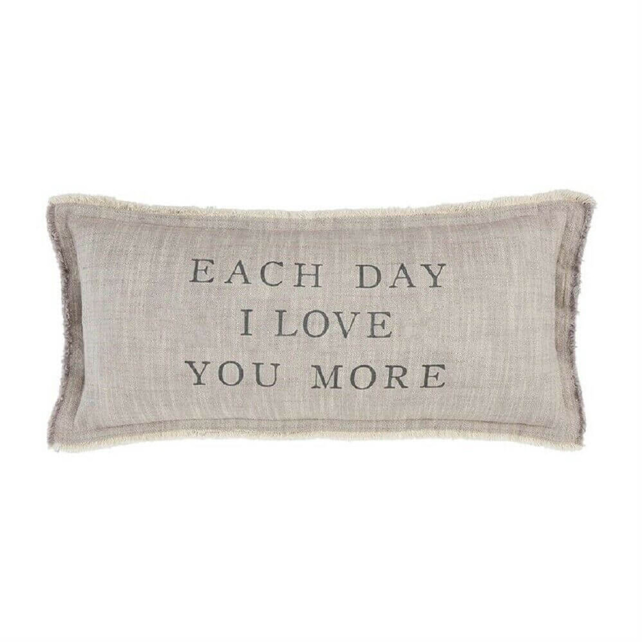 """Bring more love to your home each and every day with this printed cotton pillow. Features frayed fringe and zipper closure. Approx 11"""" x 22""""; insert included."""