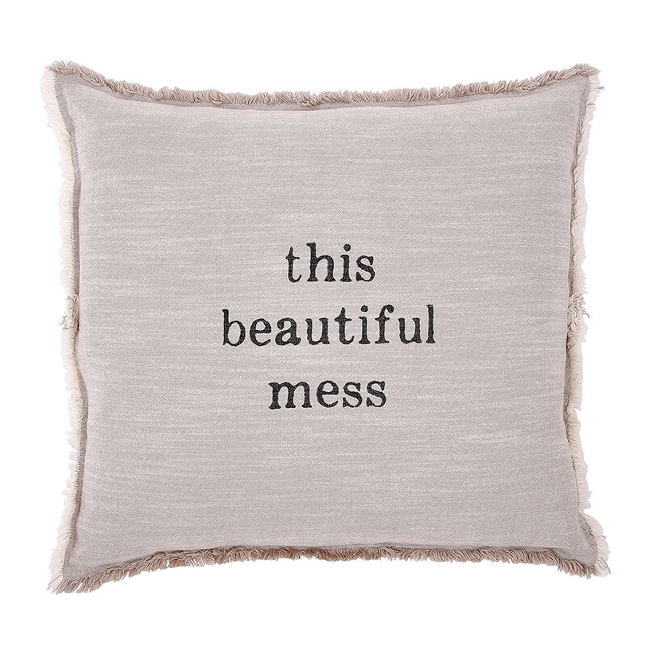 """Words of wisdom printed on cotton fabric 26"""" square pillow with down insert, fringe border, and hidden zipper."""