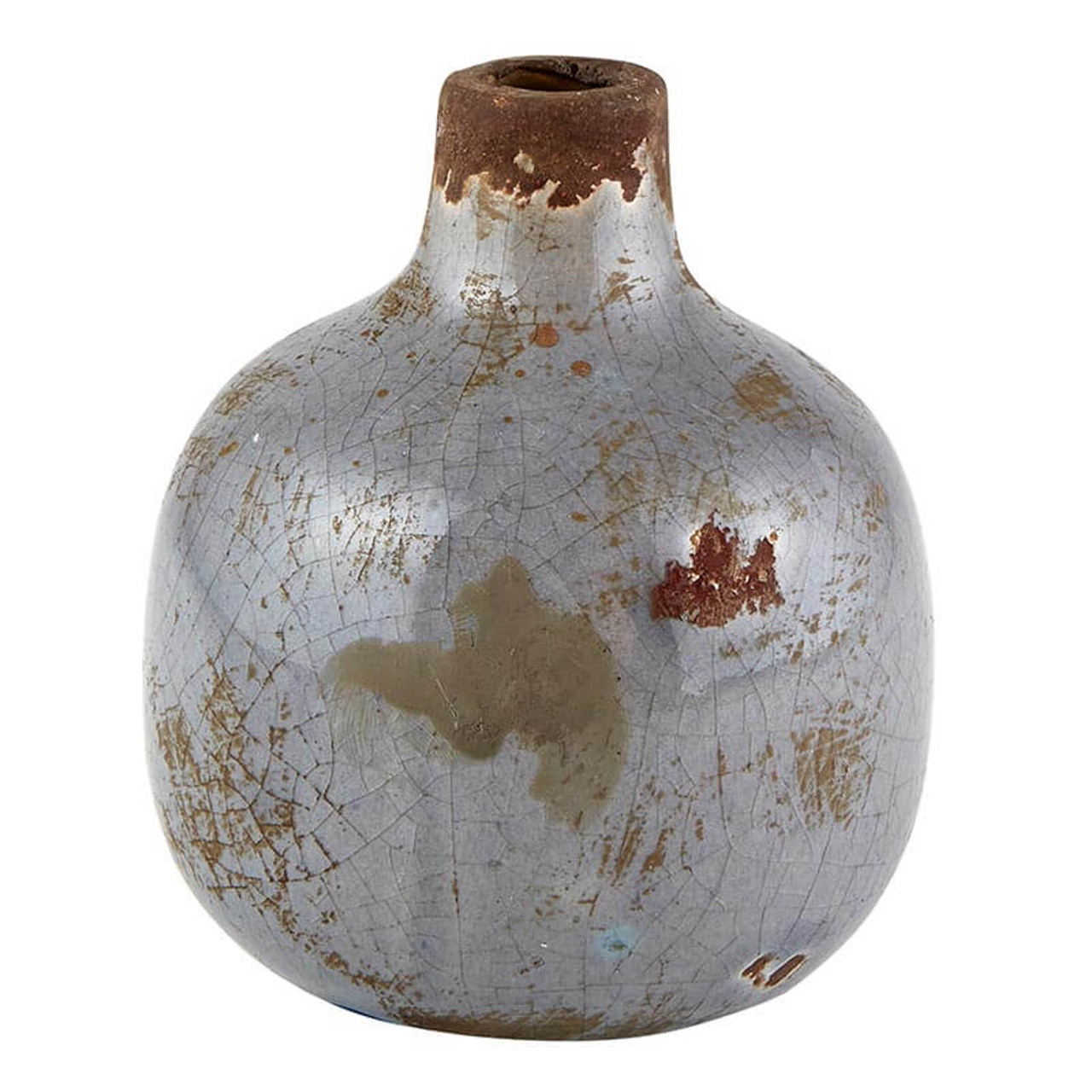 """This distressed glazed ceramic bud vase will be a sweet addition to any desk or tabletop. 3.25"""" Dia x 3.75"""" H; approx 5/8"""" opening."""