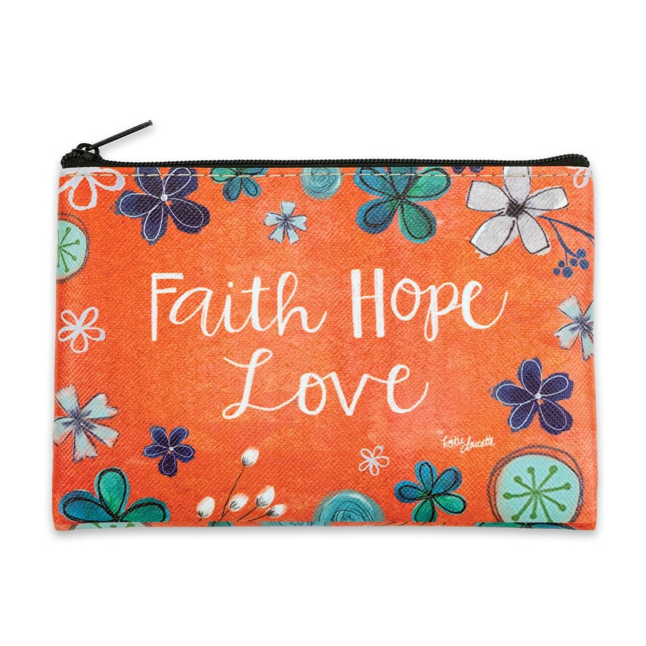 """The perfect small, fun, and functional accessory! This bag features cute floral artwork and sweet sentiments on coated canvas material. Featuring artwork by Kate Doucette.  Faith Hope Love sentiment 6""""(W) x 4 1/2(H) Coated canvas exterior Lined interior"""