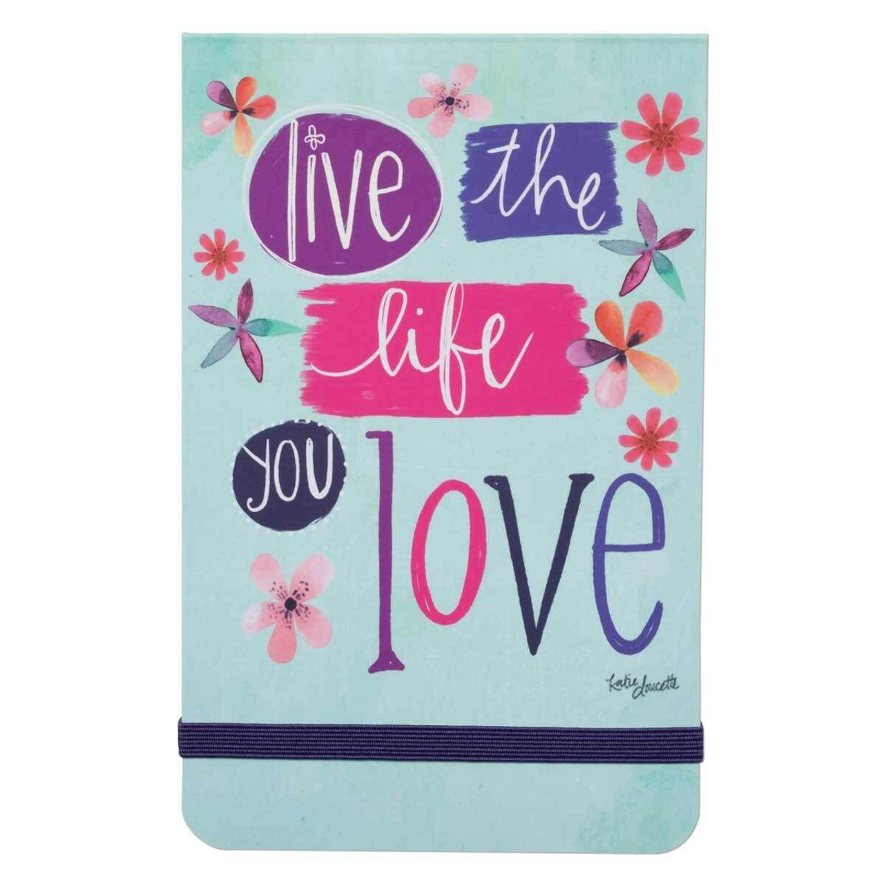 Small, Sweet, and Compact; Our pocket notepads are great to take anywhere. The cover features fun, floral artwork and a sweet inspirational message. Featuring artwork by Katie Doucette.  live the life of love sentiment 3 1/2(W) x 5 1/2(H) 136 lined pages Elastic band closure