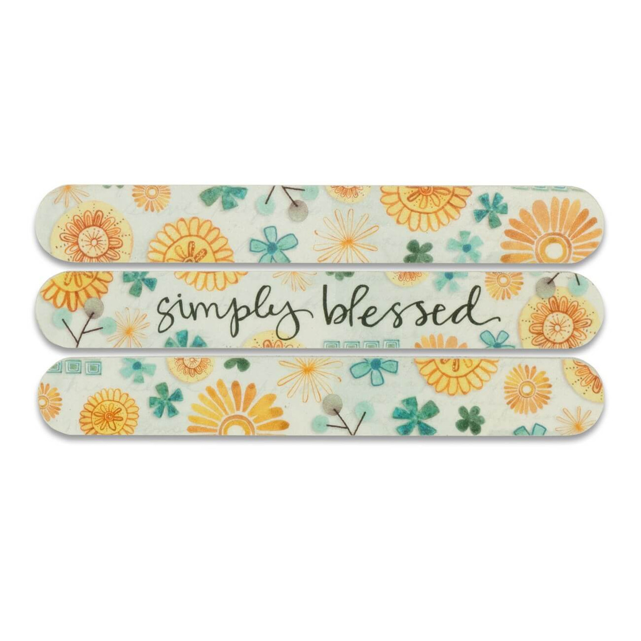 """Salon-style emery boards come in a 3-pack variety of fun, floral artwork and colors with a sweet inspirational message on the center board. The longer length and foam make them comfortable for the hand, and perfect for filing nails on both hands and feet. Featuring artwork by Katie Doucette.  simply blessed sentiment on both sides Individual board measures 1"""" wide x 6"""" long 3 boards per pack 2-sided high quality abrasive material Cushioned foam center Clear protective sleeve"""