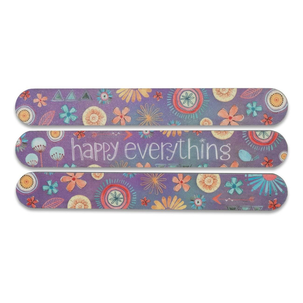 """Salon-style emery boards come in a 3-pack variety of fun, floral artwork and colors with a sweet inspirational message on the center board. The longer length and foam make them comfortable for the hand, and perfect for filing nails on both hands and feet. Featuring artwork by Katie Doucette.  Just be awesome sentiment on both sides Individual board measures 1"""" wide x 6"""" long 3 boards per pack 2-sided high quality abrasive material Cushioned foam center Clear protective sleeve"""