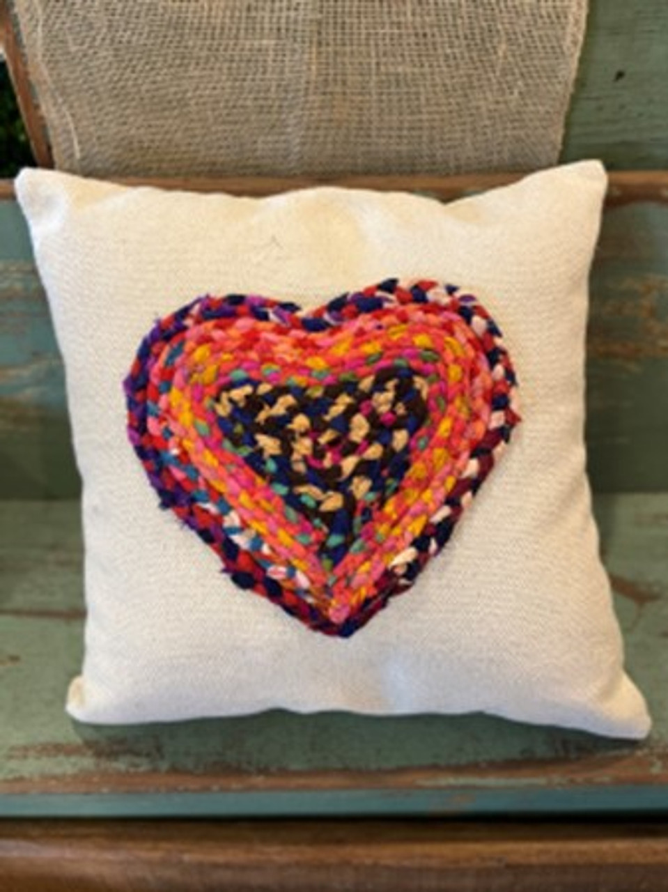"""Multi-color Chindi fabric heart applique on 20"""" square cotton pillow. Insert included. Each Chindi fabric applique is unique; this one features pink, coral, and navy fabrics."""