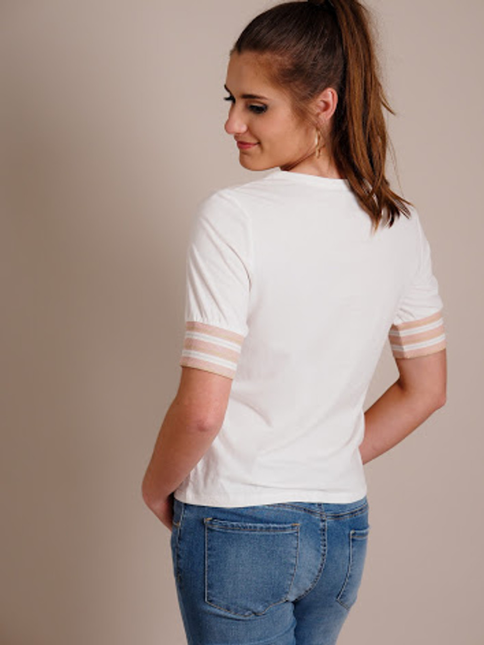 Casual White Tee with Striped Sleeve