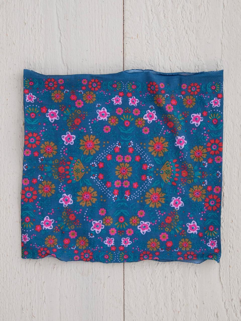 Indigo Floral Mandala Half Boho Bandeau