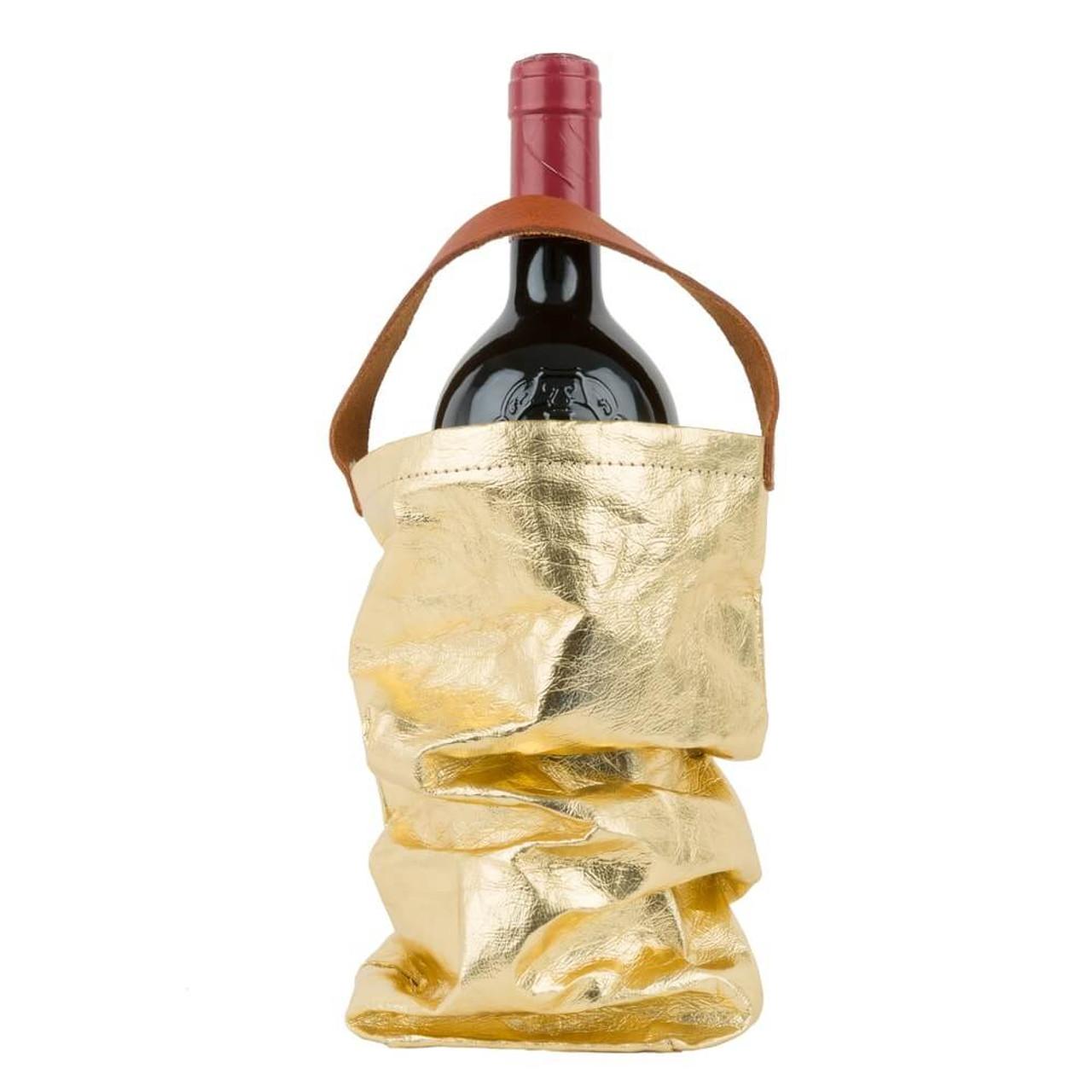 UASHMAMA wine bag organic paper bags gold metallo