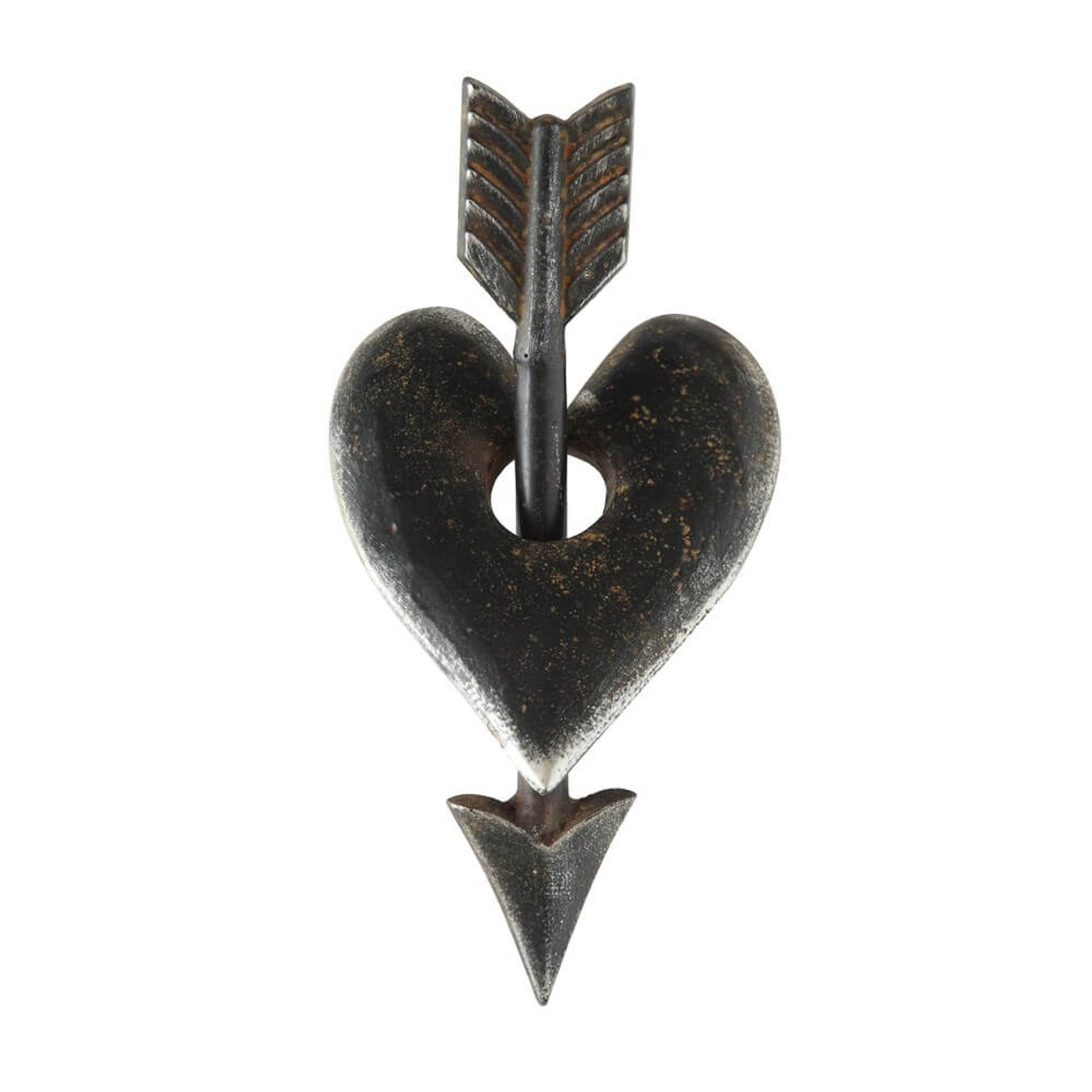 """Cupid has done it again! This metal heart and arrow is a great accent piece and weighs a sturdy 3 lbs. The pieces do not separate but are also not connected which makes it easy to find the perfect way to arrange it for display. 10"""" L x 4-3/4"""" W"""