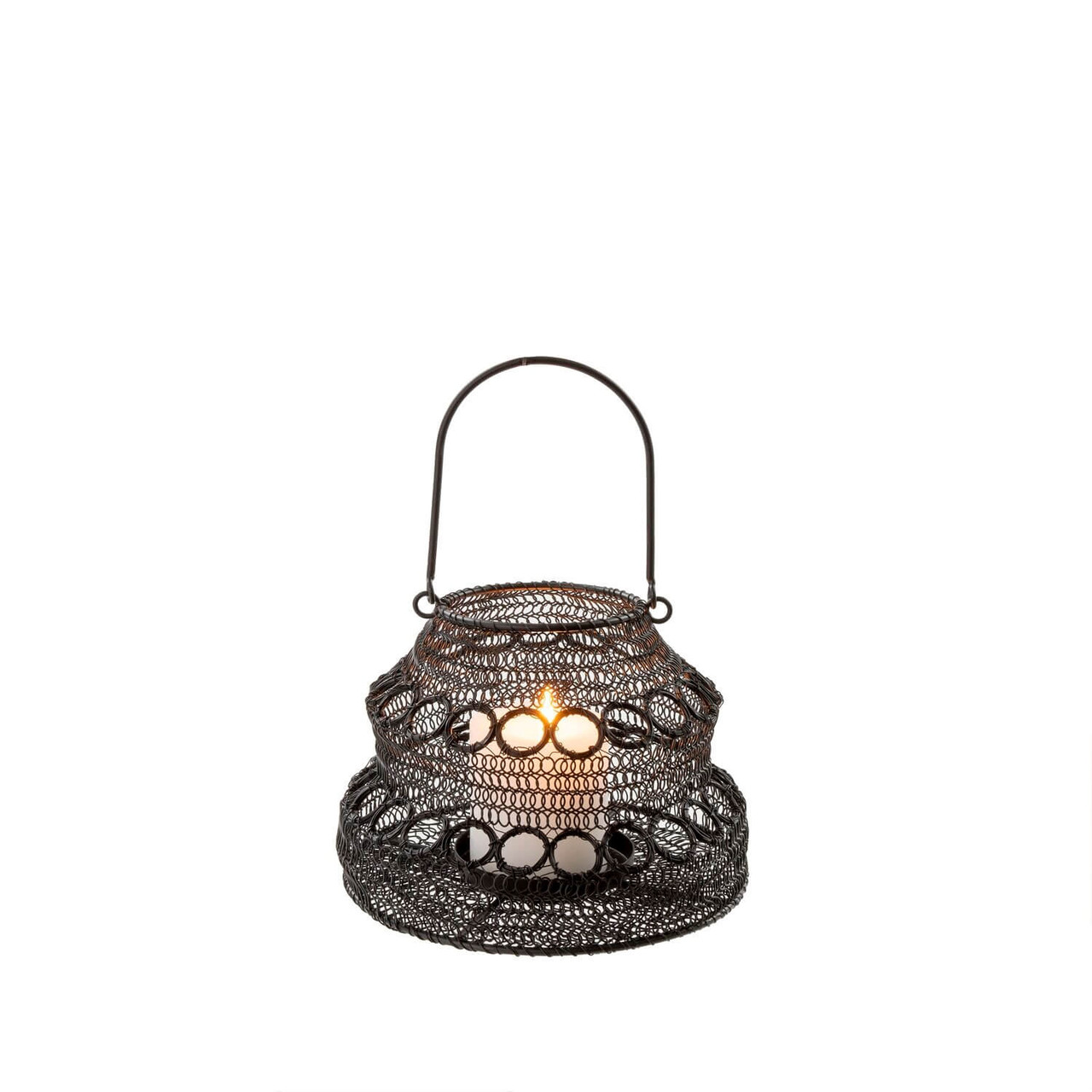 """With an organic silhouette and woven iron mesh design, this arty lantern collapses flat for storage. Perfect for the backyard, front porch, or summer garden parties. Holds a candle up to 3.25"""" round. 8"""" Round x 5.5 """"H. Wipe clean with damp cloth."""