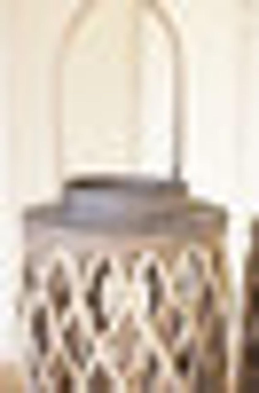 """Grey woven willow cylinder lanterns with glass candle holder insert. 8"""" Round X 13"""" T; glass insert is almost 3.75"""" Round X 6"""" T."""