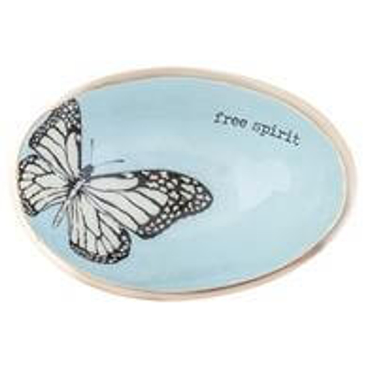 """This little organic egg-shaped bowl has a natural feel and is the perfect holder for all your smaller items and jewelry; the perfect little addition for your bedside table, bathroom, vanity, or anywhere you like. The bowl is light blue on the inside with a grey/white butterfly and """"free spirit"""" sentiment; soft gold on edge and outside. Approx 5.25"""" x 3.5"""" x 1.75"""""""