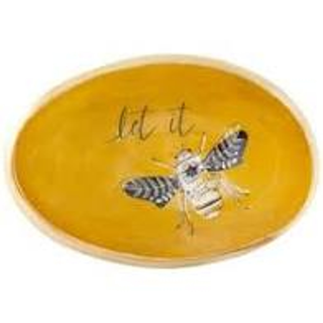"""This little organic egg-shaped bowl has a natural feel and is the perfect holder for all your smaller items and jewelry; the perfect little addition for your bedside table, bathroom, vanity, or anywhere you like. The bowl is golden mustard on the inside with """"let it"""" sentiment and a grey/white bee; soft gold on edge and outside. Approx 5.25"""" x 3.5"""" x 1.75"""""""