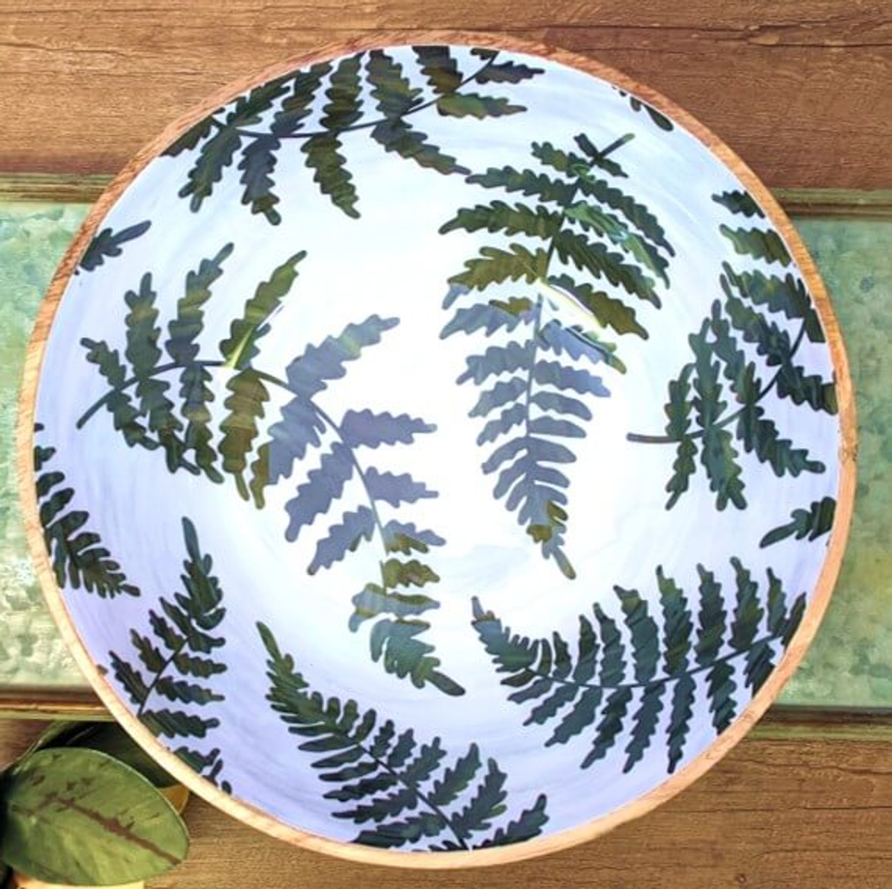 """Mango wood serving bowl with fern patterned enamel interior. 12"""" Dia x 4"""" H"""