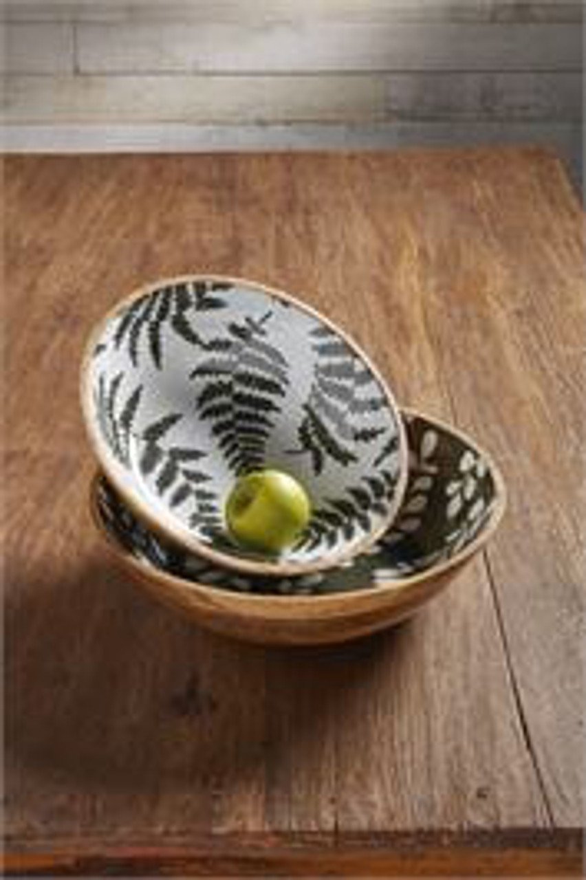 """Mango wood serving bowl with fern patterned enamel interior. 14"""" Dia x 4"""" H"""