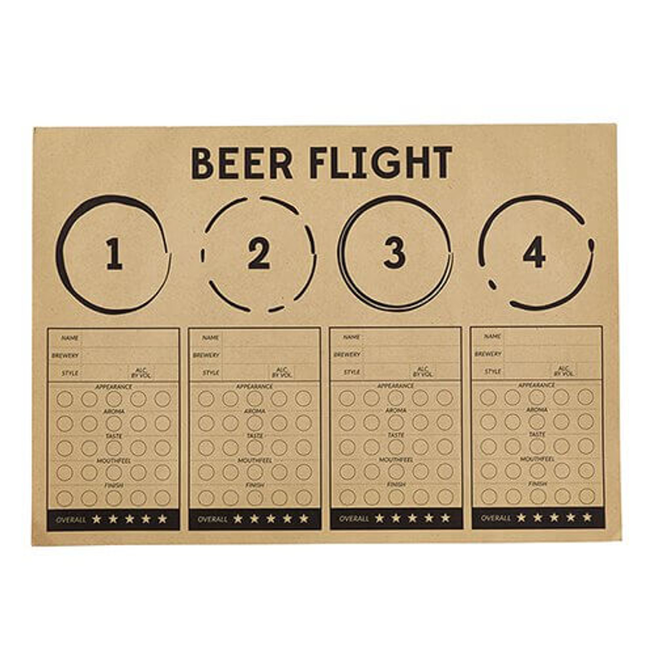 Taste and Record your favorite beers with Beer Flight Placemates! 24 sheets per pack.