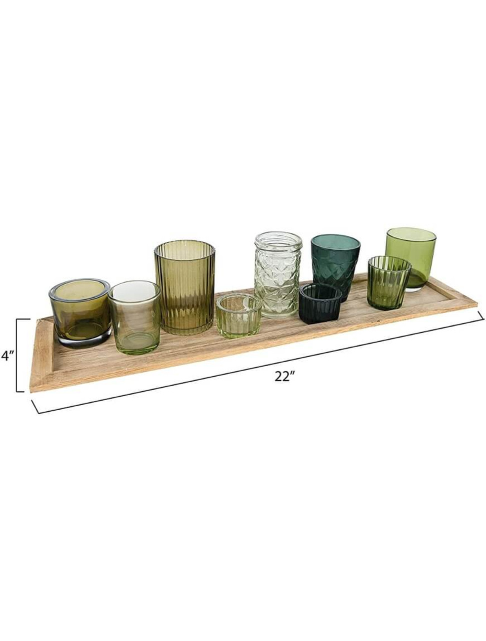 """Wood tray w/ 9 glass votive holders in earthy green shades. Tray: 22"""" L x 5.5"""" W x 0. 5"""" H; votive holders rang from 2"""" W x 1"""" H to 2. 5"""" W x 4"""" H."""