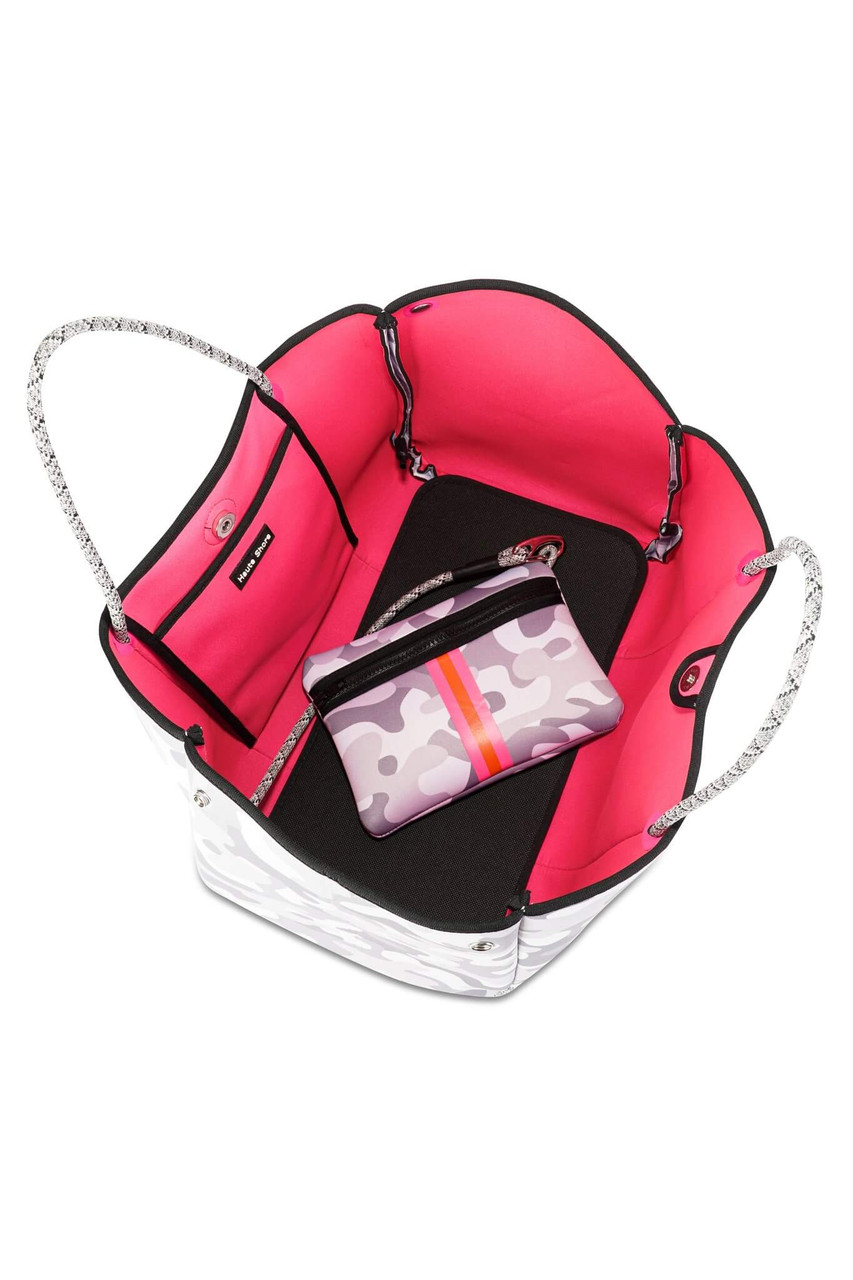 """White/grey camo with hot pink and orange stripe.  This neoprene tote is the perfect blend of style and functionality.   Ultra light weight.  Side panels expand for a phantom shape or snap in for a streamline look.  Fashionable and sturdy rope detail and shoulder straps.  Removable hard bottom liner.  Removable wristlet pouch.  Washable with mild soap. Hang dry. Hand wash recommended.  Dimensions- 18"""" W with side panels expanded (14.4"""" W with side panels snapped closed) x 12"""" T x 10"""" D.  Pouch measures 8.5 inches wide by 6 inches tall."""