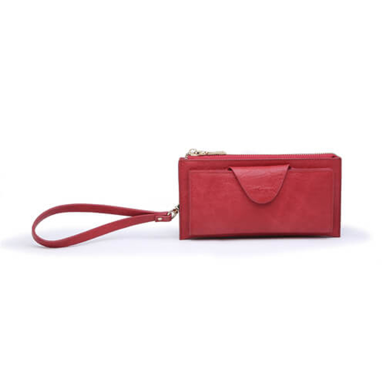 The Kyla wallet is RFID protected and offers 12 Card and ID slots and 2 slip pockets behind a snap closure, as well as three pockets sharing zip closure; wristlet strap also included.