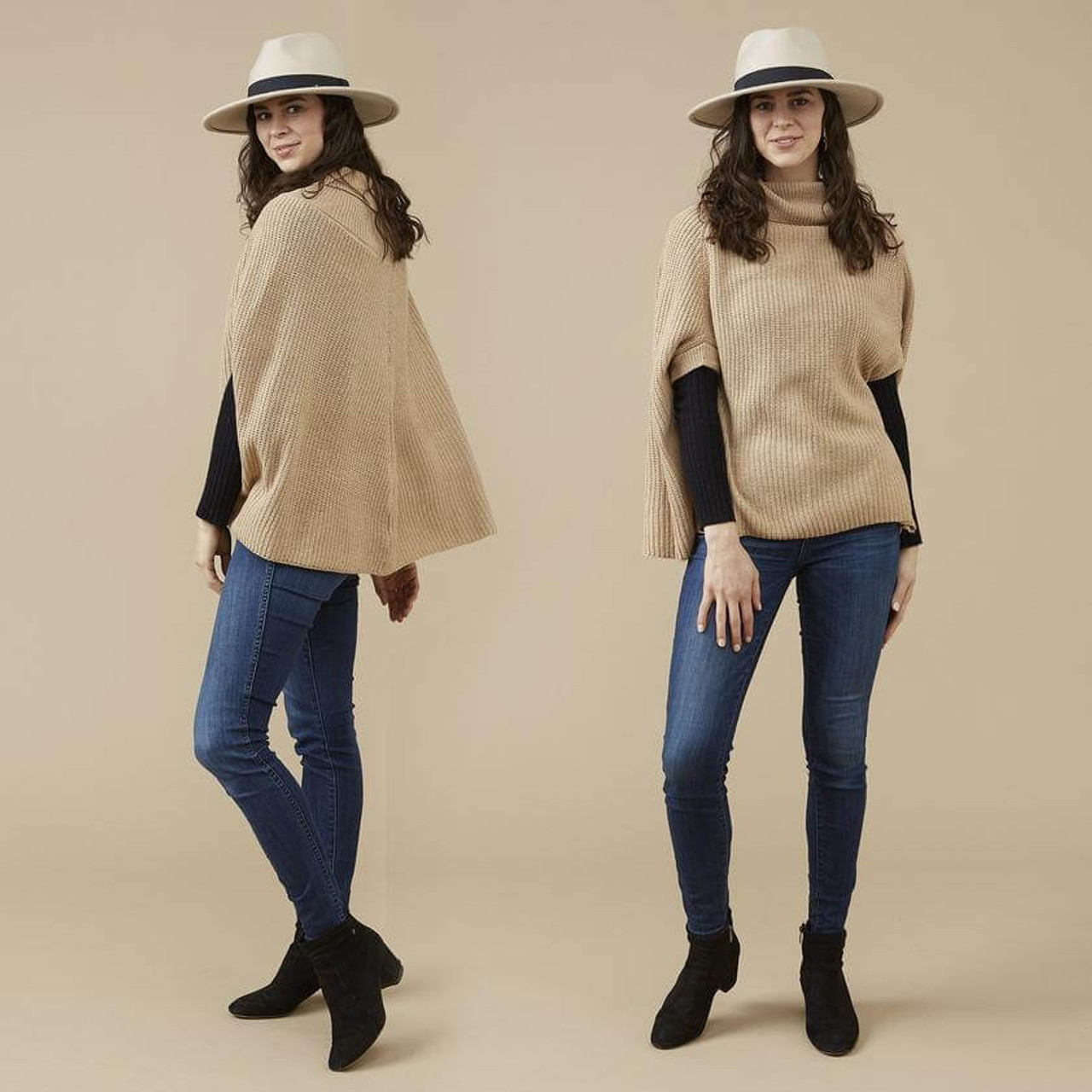 This modern sweater knit khaki Victoria poncho is perfect for the office, a day of shopping, or even date night. The neutral color and effortless style will have you looking chic and feeling warm wherever you go. One size fits most.