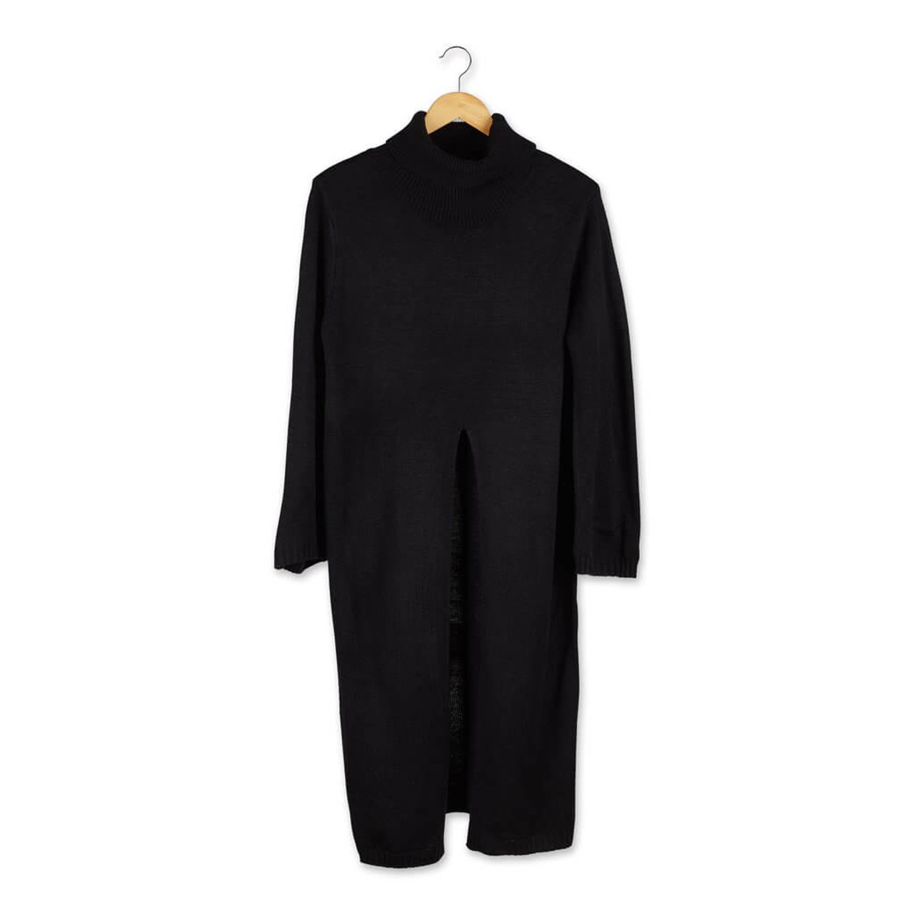 """Stay warm and stylish in this black Courtney long-sleeve turtle-neck sweater slit poncho. Approx 40"""" from neck to hem and 27"""" front slit; one size fits most."""