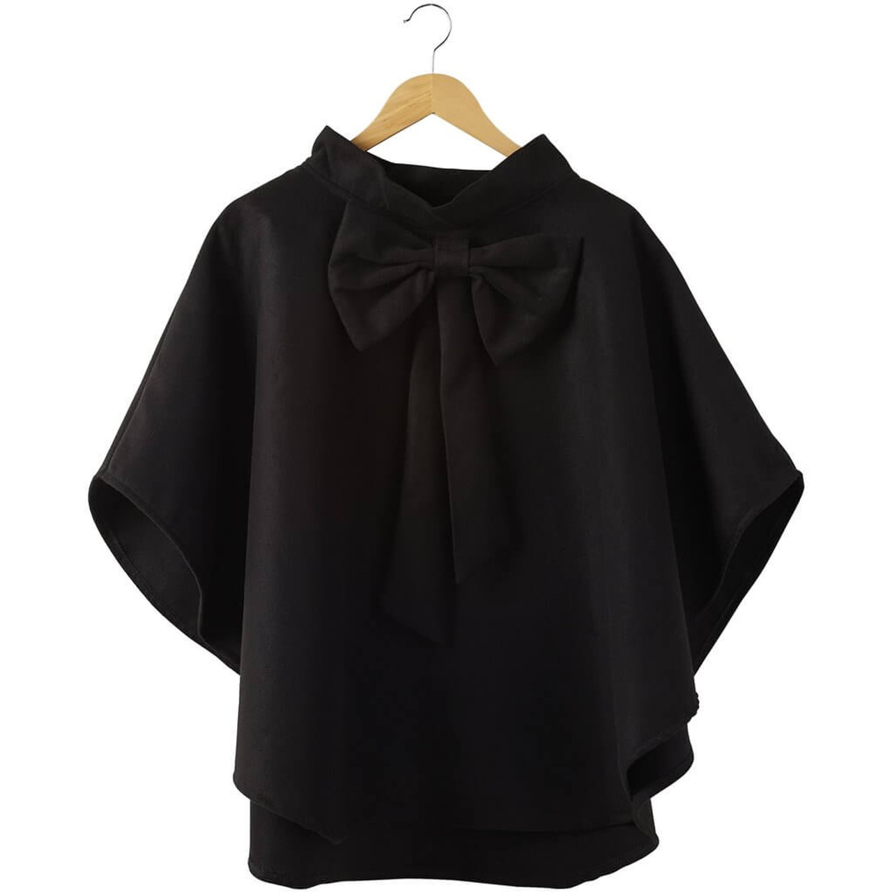 """Black Elsa Bow Cape Rounded edges and an oversized bow make this cape an absolute beauty that will elevate any outfit in an instant. Approx 29.5"""" long; one size fits most."""