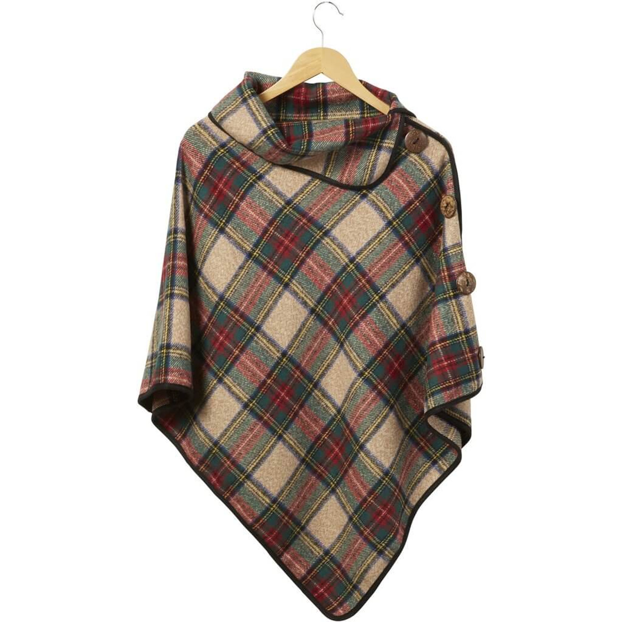 This adorable button plaid Patric spiced wine poncho is perfect for pumpkin picking and sipping hot apple cider this fall. One size fits most.