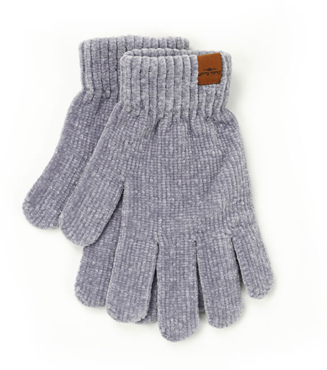Ultra-soft gray chenille gloves with extended wrist cuffs; all the warmth without the weight. One size fits most.