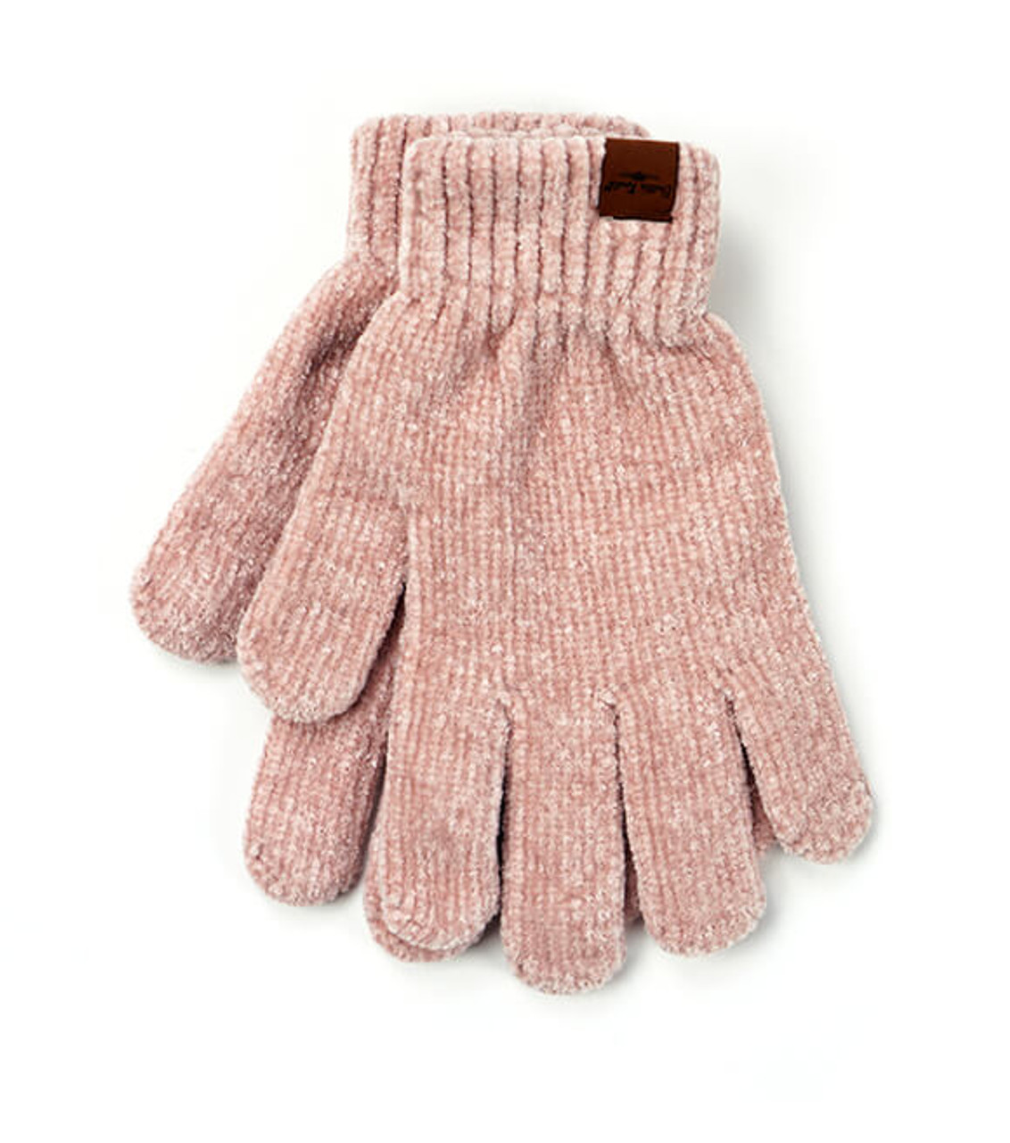 Ultra-soft blush chenille gloves with extended wrist cuffs; all the warmth without the weight. One size fits most.