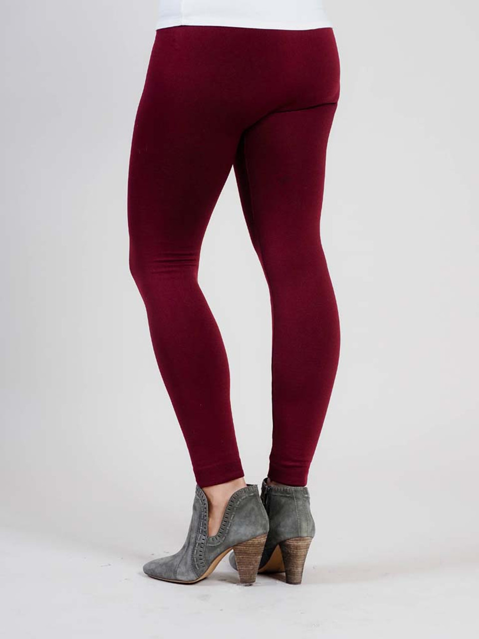 """Burgundy Gray Comfortable and versitable fleece-lined leggings, breathable fabric, smooth mid-rise fit, seamless, flattering 4"""" waistband, full length cut with banded ankle"""