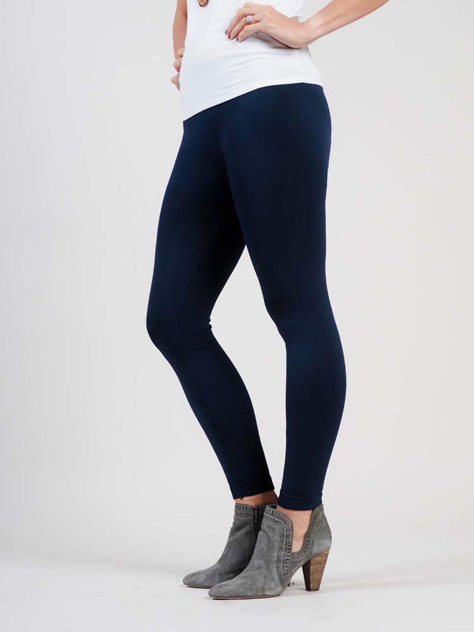 """Navy Comfortable and versitable fleece-lined leggings, breathable fabric, smooth mid-rise fit, seamless, flattering 4"""" waistband, full length cut with banded ankle"""