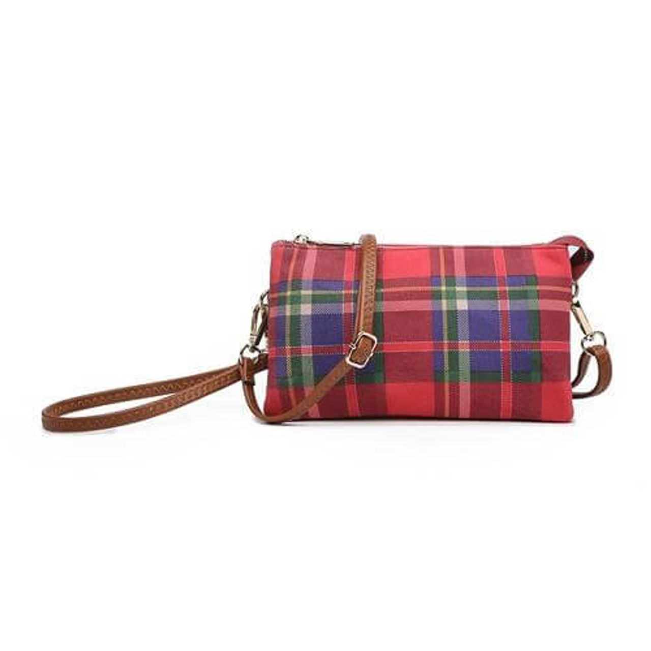 Riley Burgundy blue plaid Wristlet and adjustable crossbody strap included. Three separate interior compartments with six credit card slots. Top zipper closure.