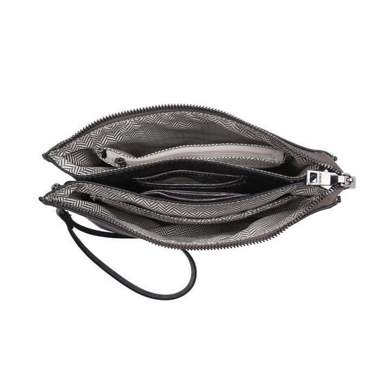 This style features an adjustable/detachable shoulder strap and a wristlet strap so you can wear it as a crossbody or use it as a clutch! Includes two compartments, six card holders, one slip pocket, and one inner zip pocket. Mila zips closed for extra security.