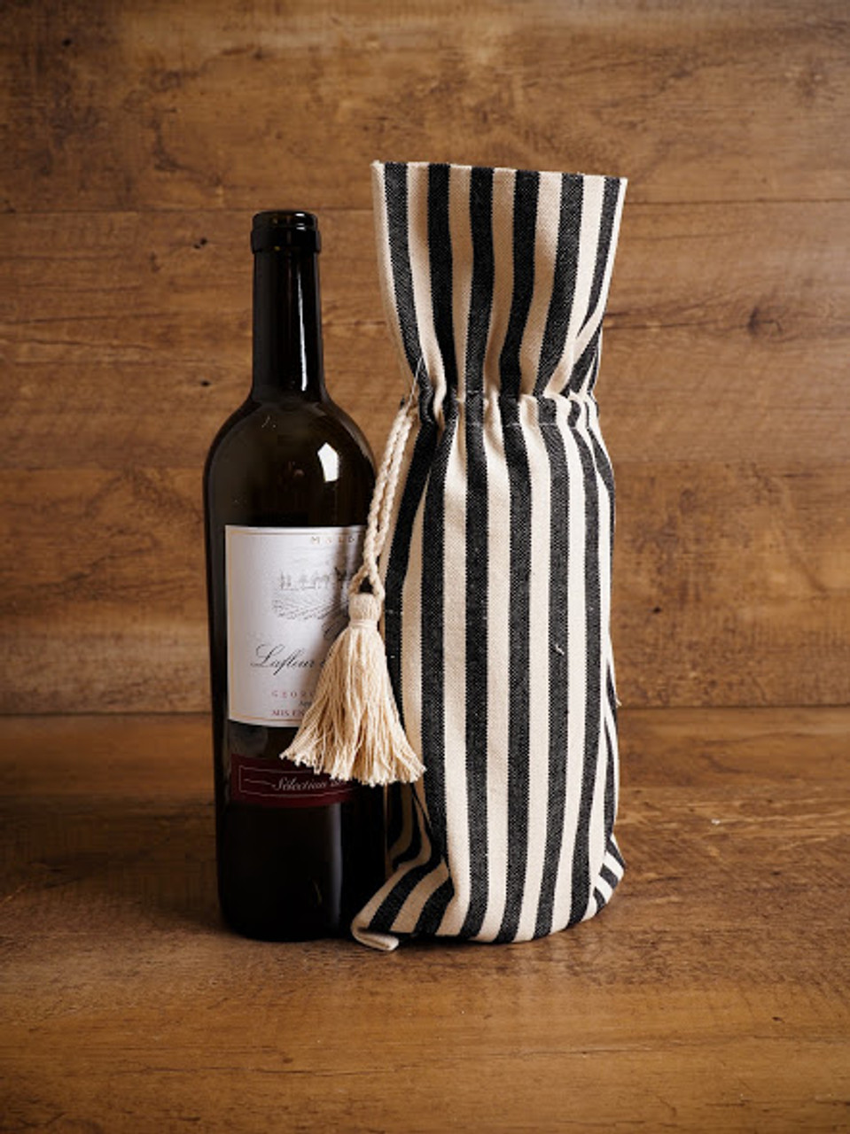 Striped Wine Bag with Tassel