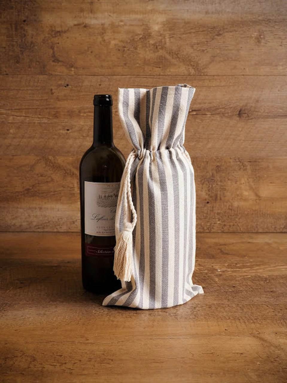 Striped Wine Bag with Tassel