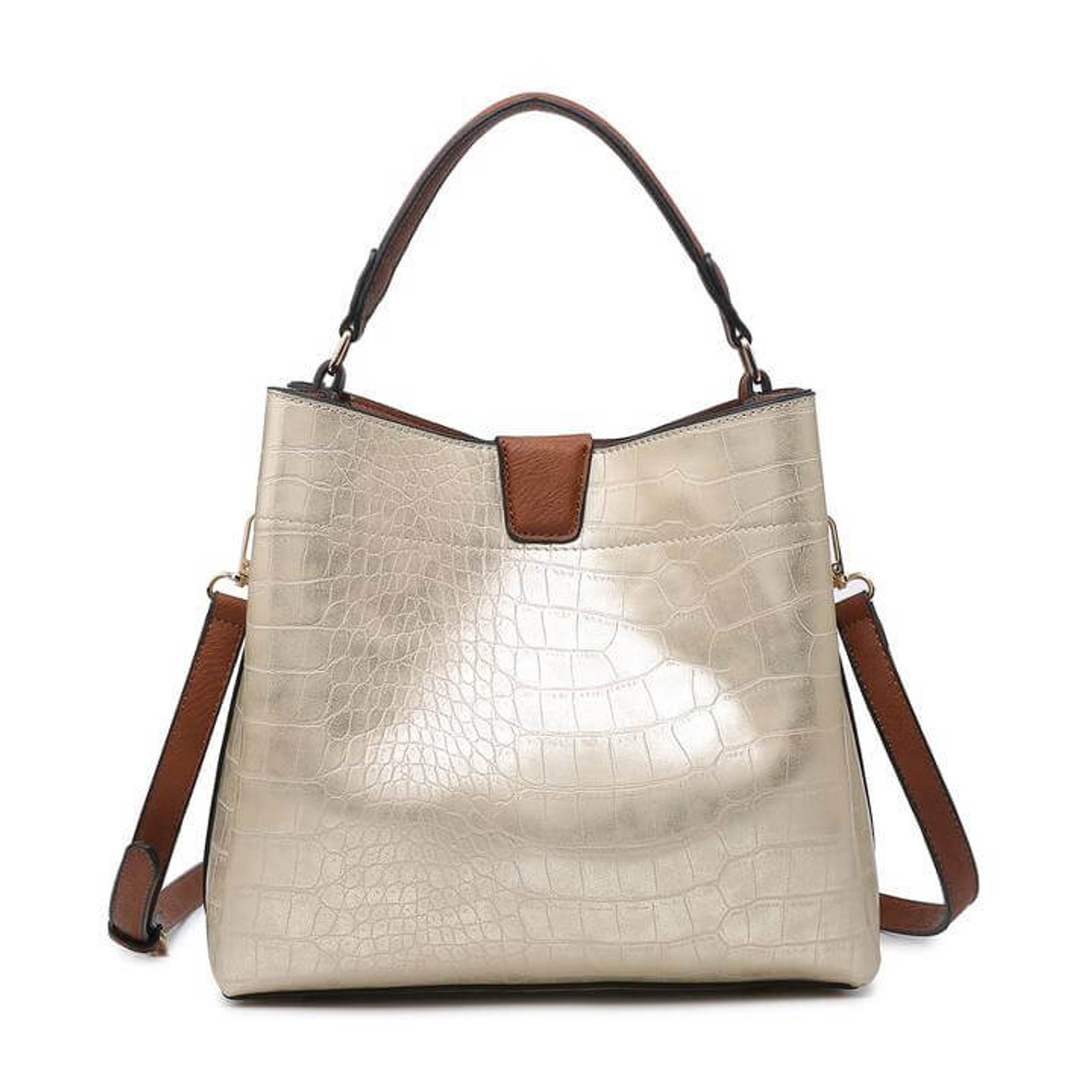 Tati croc champagne This satchel/hobo includes two compartments with inner slip and zip pockets and a magnetic snap closure. An adjustable/detachable shoulder strap is included.