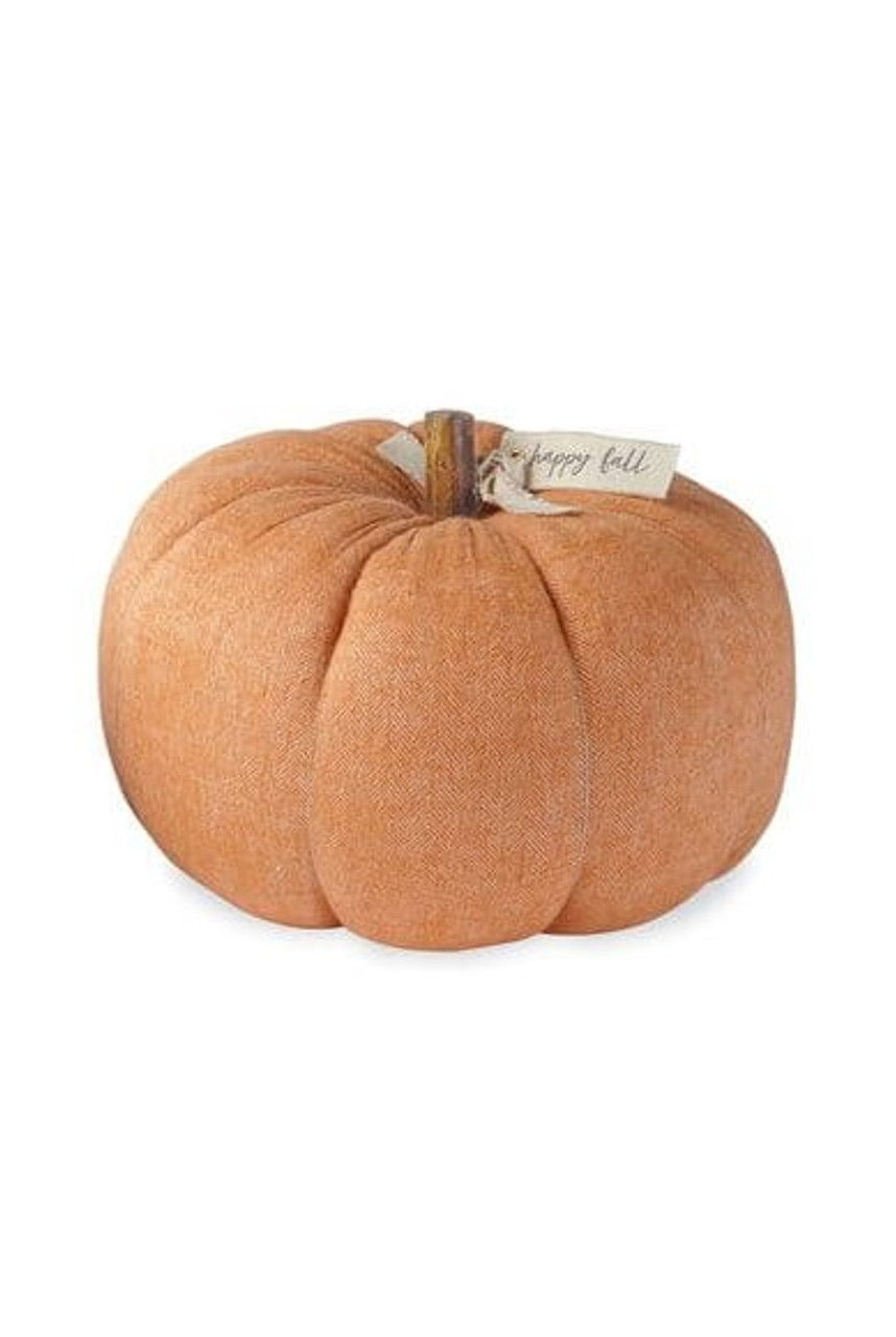 """Decorative cotton flannel pumpkin sitter featuring an orange woven twill pattern and wooden stem with grommeted canvas accent tag with printed """"happy fall"""" sentiment."""