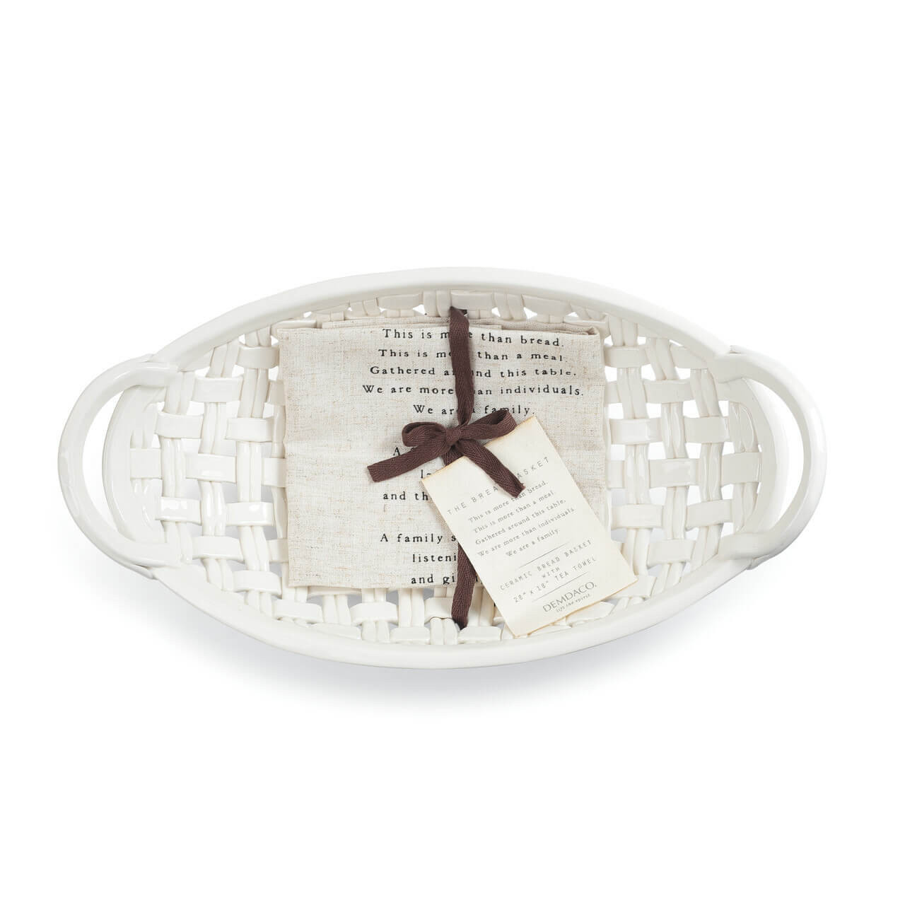 This ceramic interlaced woven bowl is a welcoming and warm way to serve and break bread with the ones closest to you. The accompanying linen tells the importance of family sharing meals. This is the perfect housewarming gift, hostess gift, or for any holiday that celebrates family.