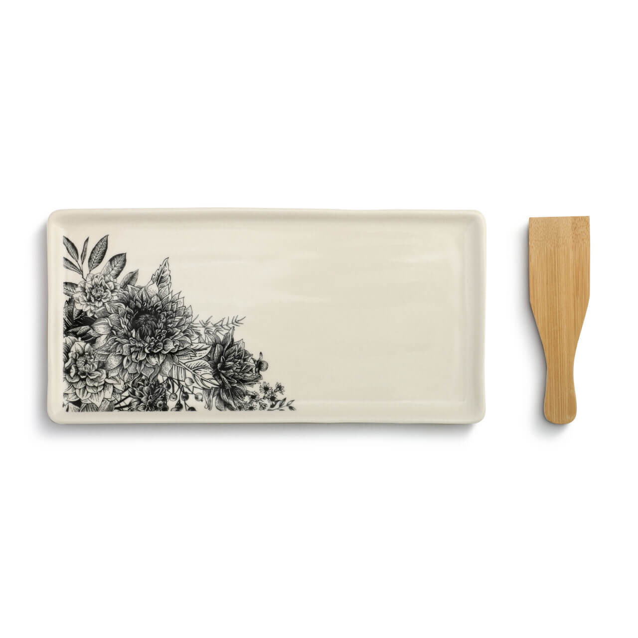 This appetizer tray with spatula makes serving easy. The stoneware plate features a detailed floral design and comes with a wooden bamboo utensil.