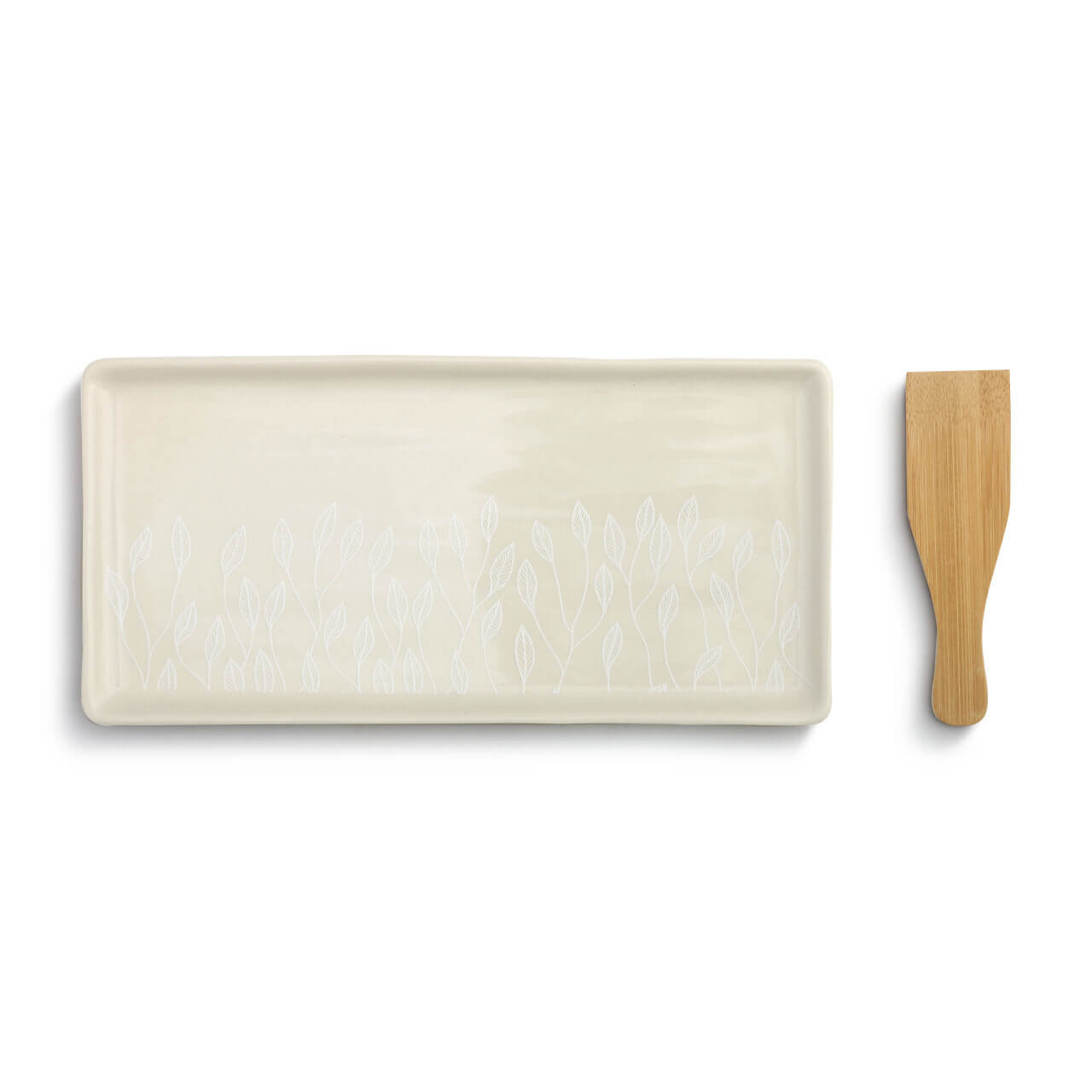 This appetizer tray with spatula makes serving easy. The stoneware plate features a leaf vine design painted in white and comes with a wooden bamboo utensil.