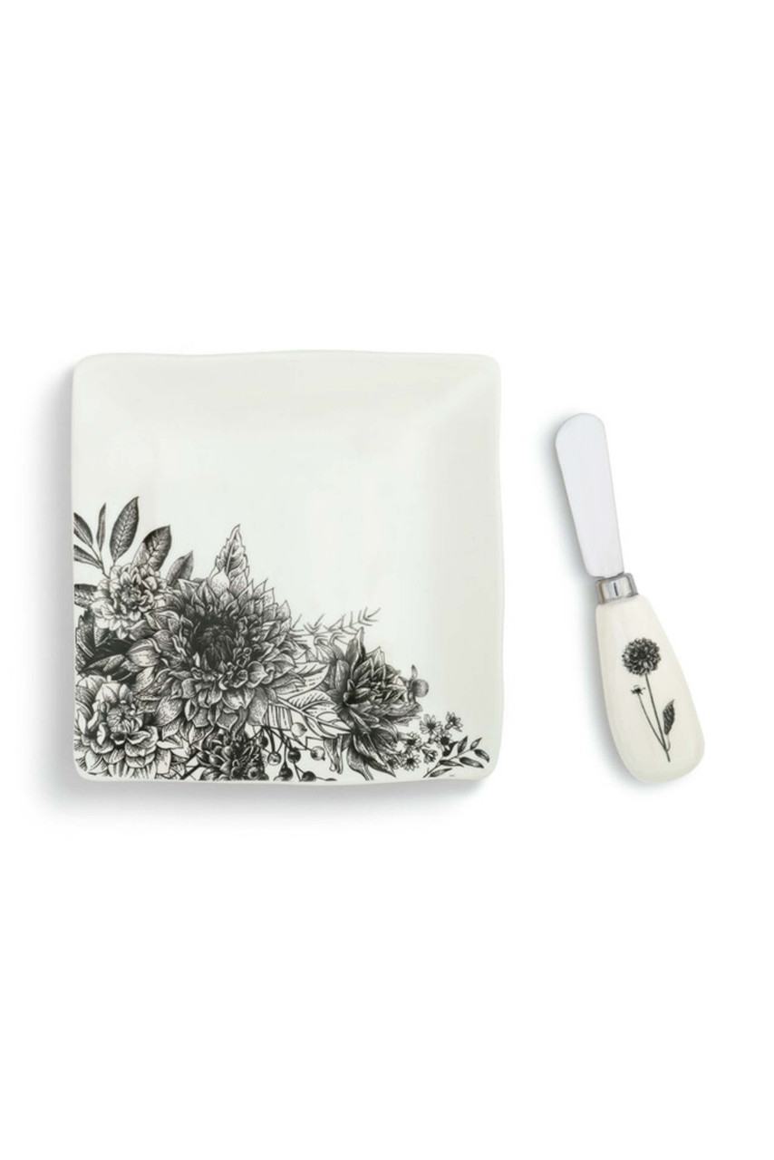The spreader is crafted from stainless steel with a ceramic handle, while the plate is made of glazed stoneware. Both items are decorated with a black and white floral scene that has a hand-drawn feel. When it's time to host, spread and serve cheese, sauces, or butter with the spreader and pile the plate high with tasty bites. Kitchen essentials make great gifts for friends and family that will use them often and be reminded of you every time they do.