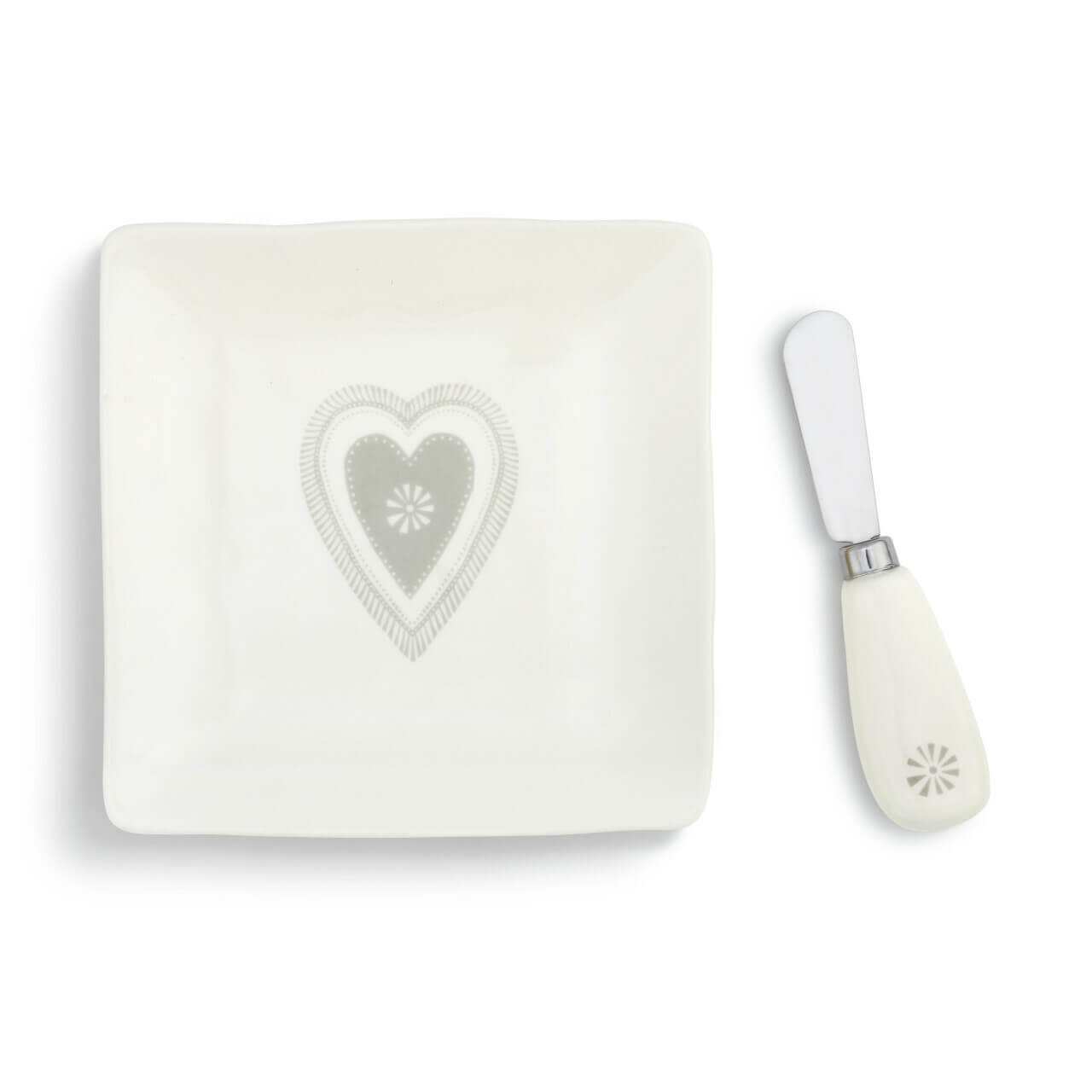 A harmonious combination of function and beauty for hosting and parties, the Heart Plate with Spreader Set is a glazed stoneware appetizer plate and stainless steel spreader with ceramic handle. Plate bears a simple, gray heart motif and the spreader handle has a tiny burst of design in the same shade of gray.