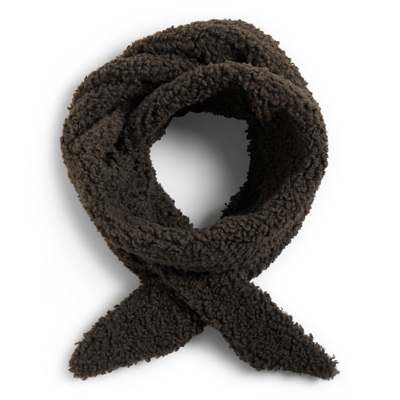 charcoal gray sherpa scarf has a loophole