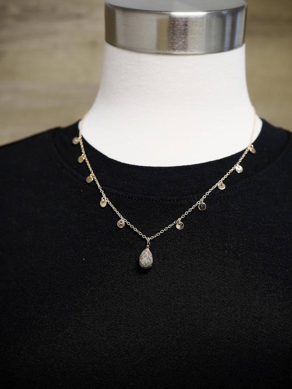 Samantha Short Necklace With Stone Pendant