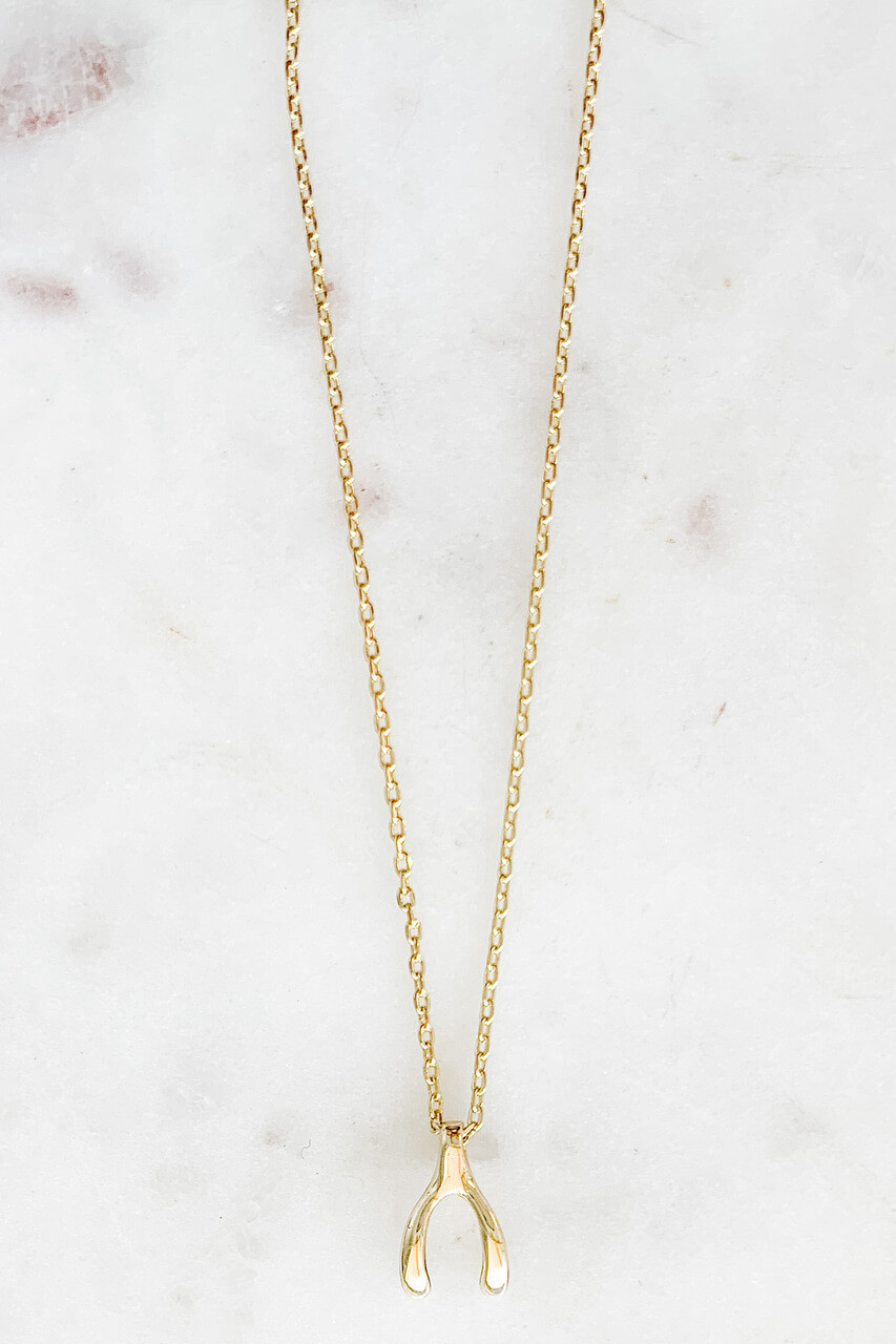 """Gold dipped dainty necklace with 1/2"""" wishbone charm for good luck! Adjustable from 15"""" - 17"""" with lobsterclaw clasp. Nickel and lead free."""