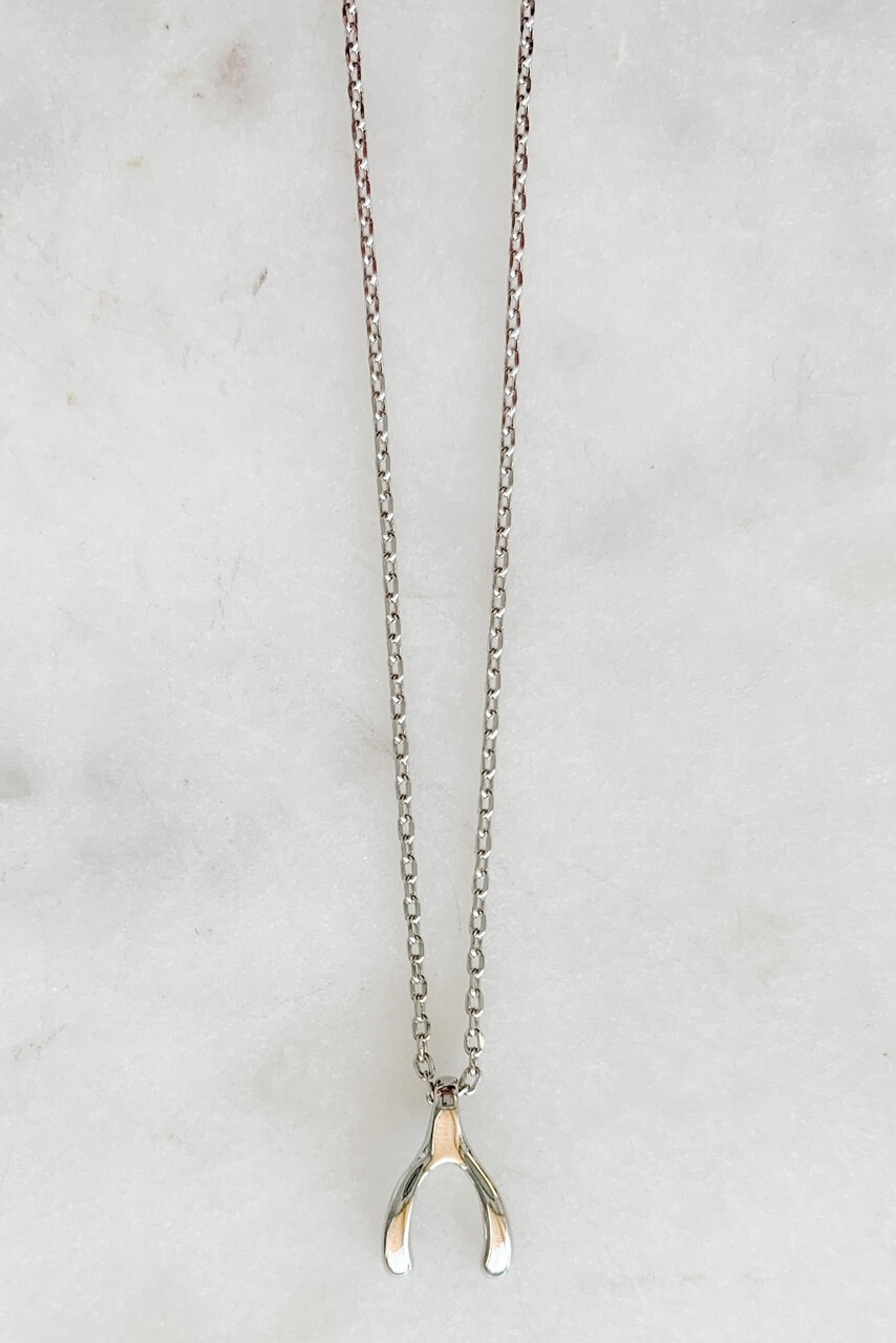 """White gold dipped dainty necklace with 1/2"""" wishbone charm for good luck! Adjustable from 15"""" - 17"""" with lobsterclaw clasp. Nickel and lead free."""